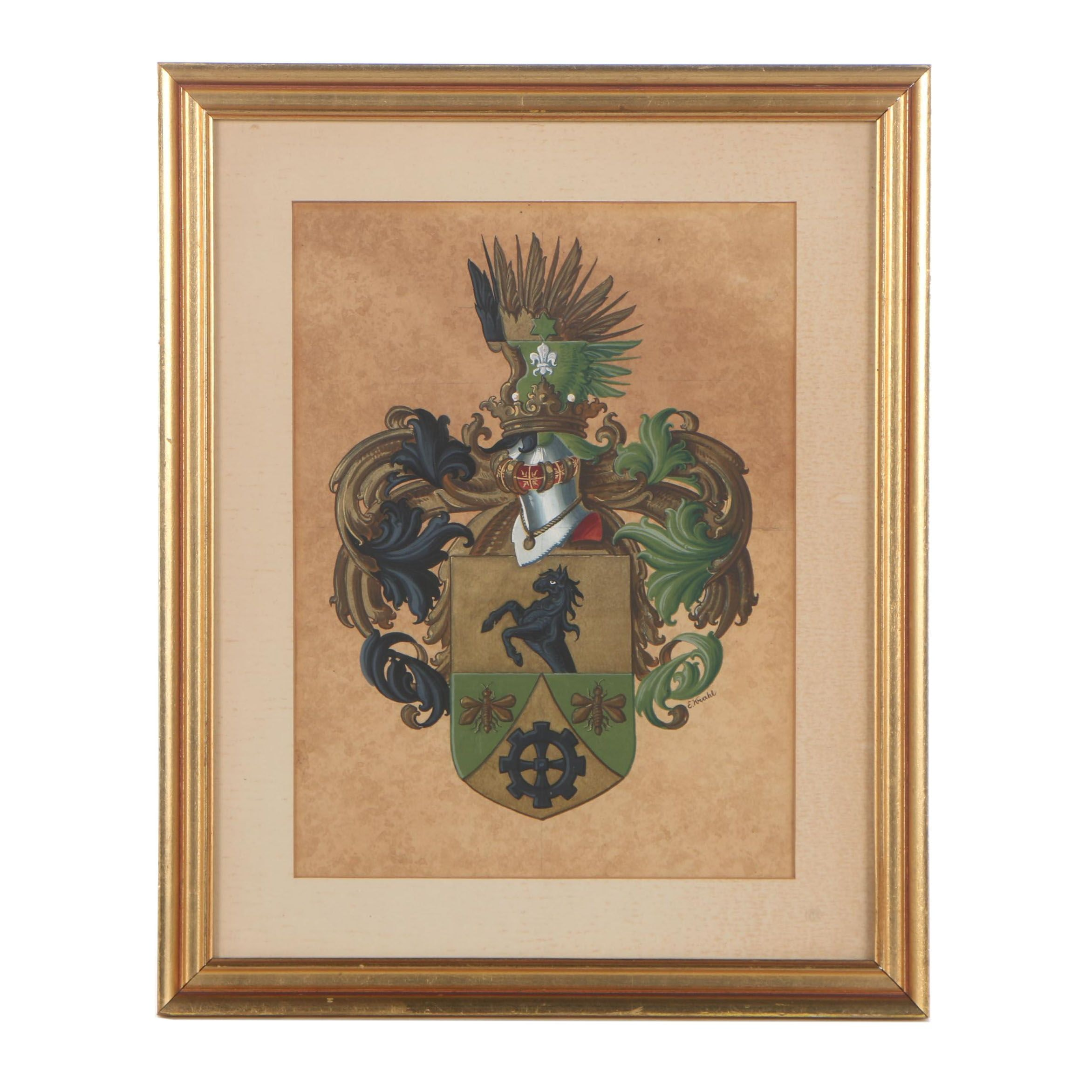 Ernst Krahl Watercolor and Gouache Coat of Arms