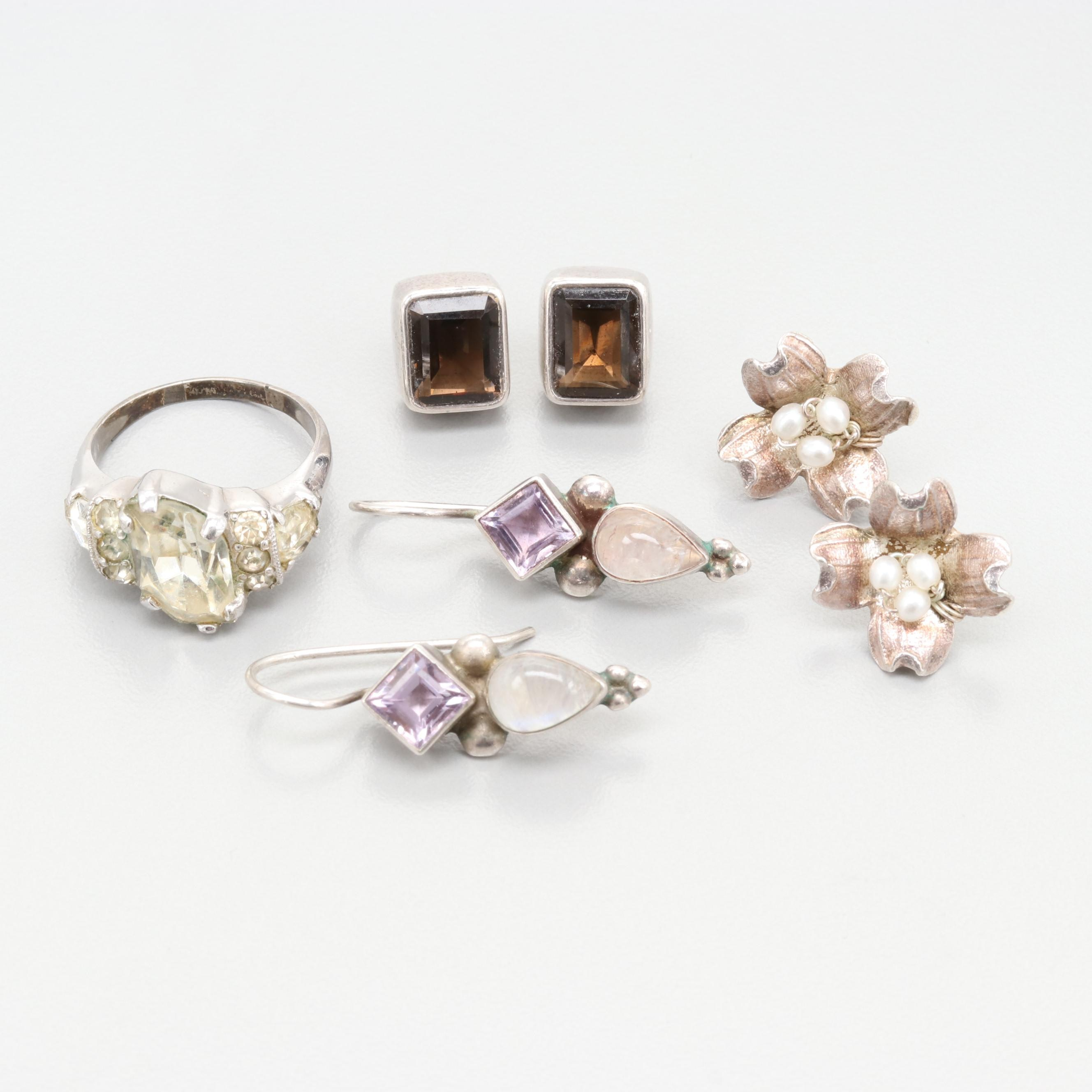 Sterling Silver Cultured Pearl, Amethyst and Moonstone Ring and Earrings