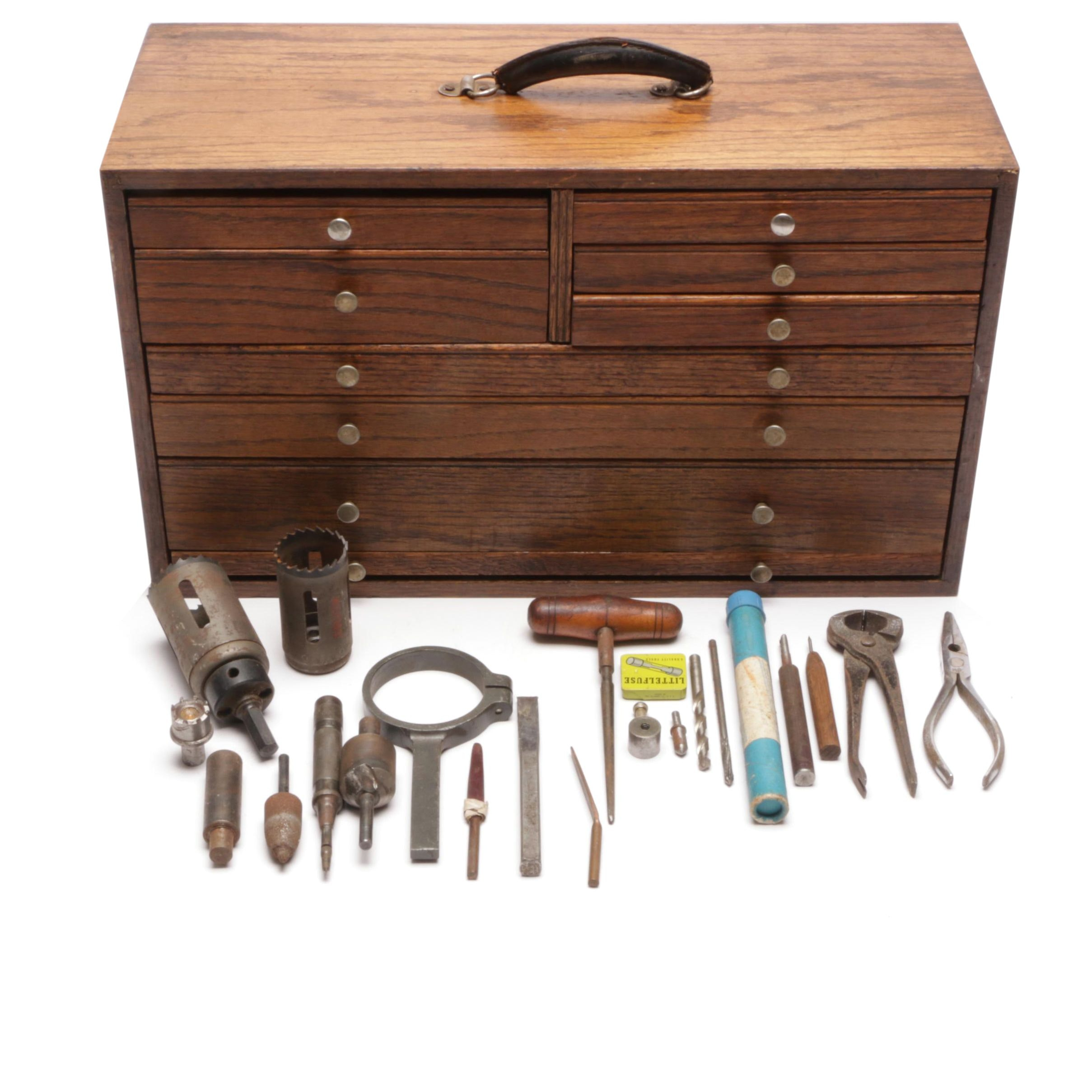 Oak Machinist Tool Chest With Tools