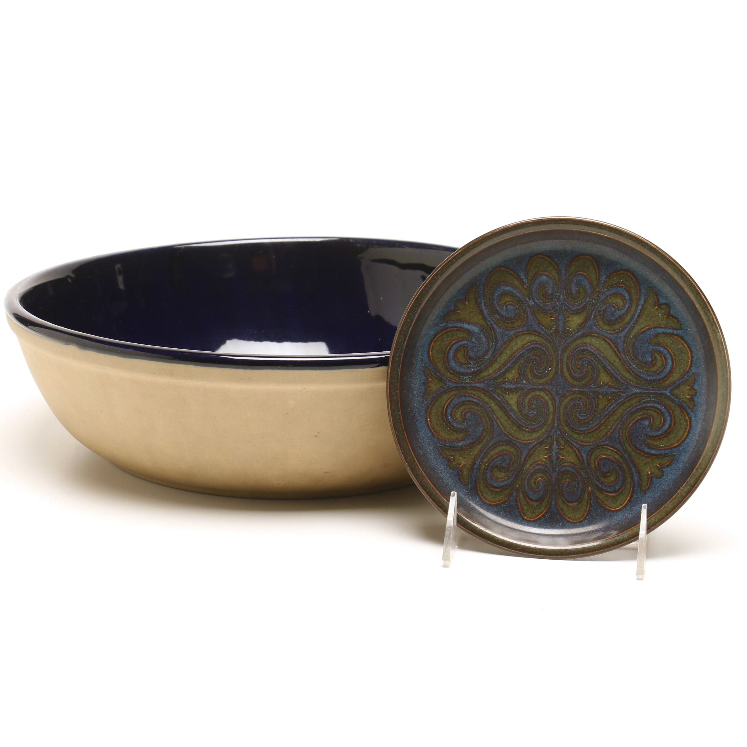 Western Stoneware Serving Bowl and Small Plate