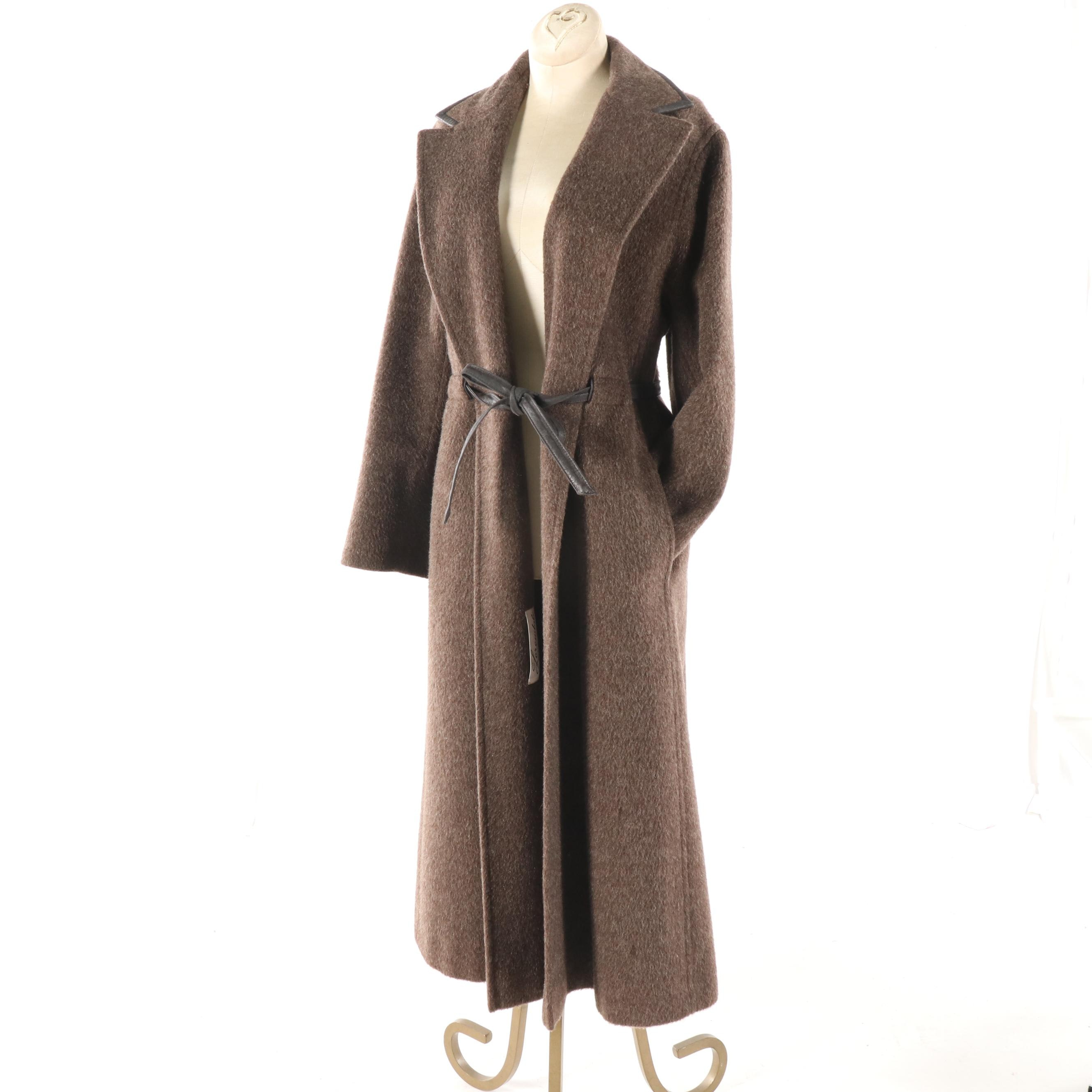Women's Vintage Lorendale Taupe Wool Coat with Leather Trim and Tie Belt