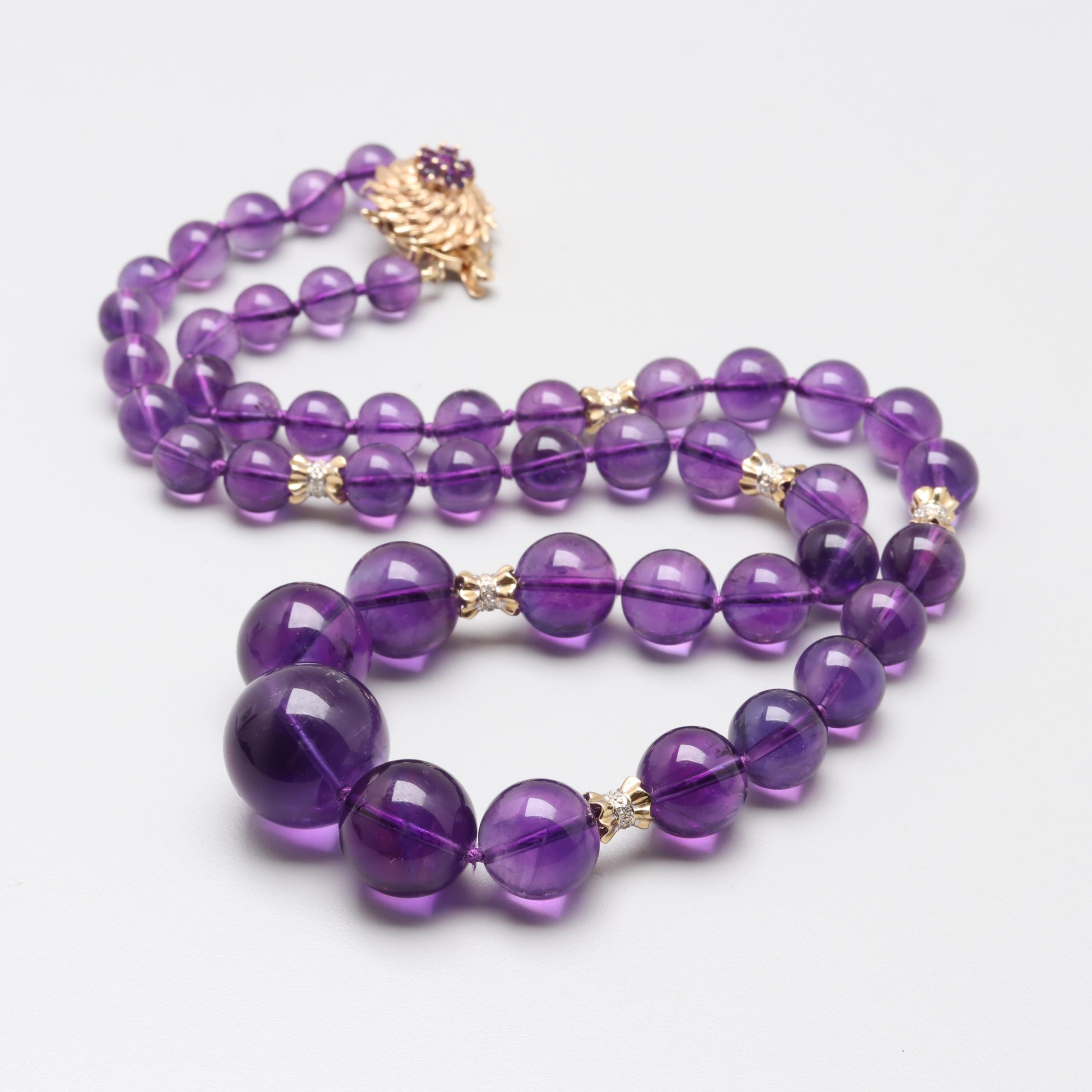 14K Yellow Gold Amethyst and Diamond Beaded Necklace
