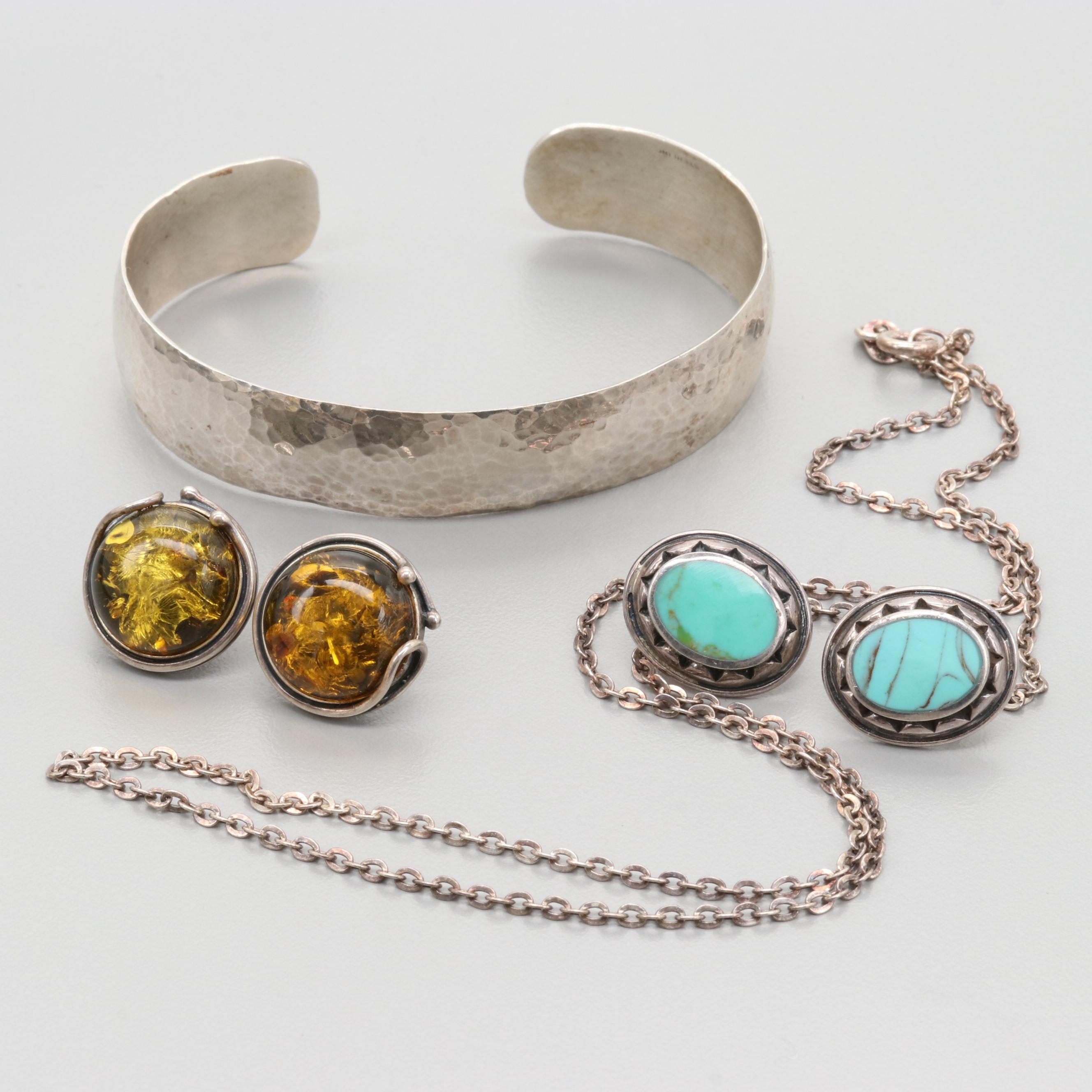 Sterling Silver Imitation Turquoise and Amber Cuff, Earrings, and Necklace