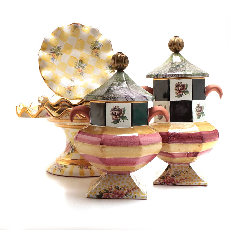 "MacKenzie-Childs ""Lemon Curd"" Cake Stand and Plates and Urns"