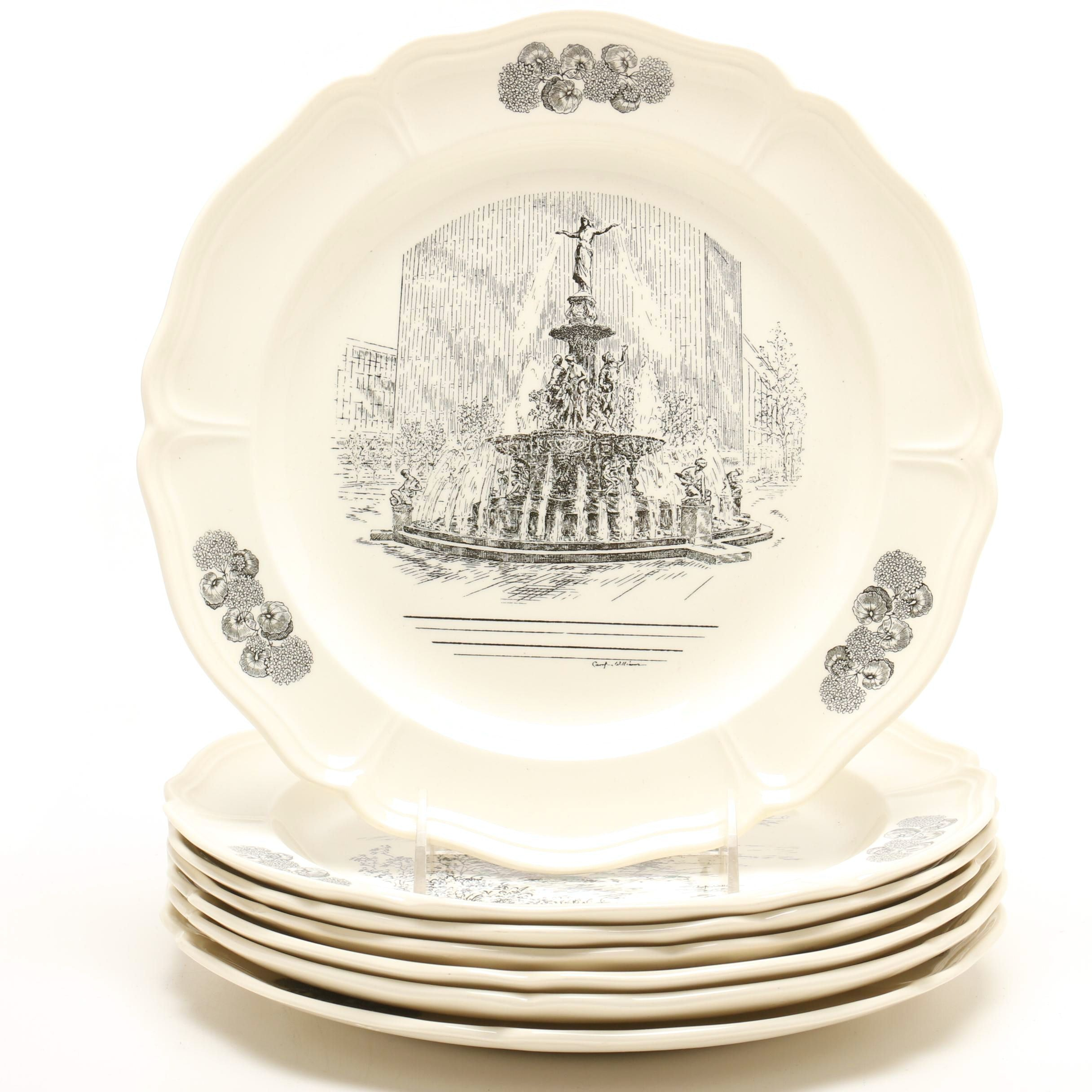 Seven Caroline Williams Wedgwood Cincinnati Plates