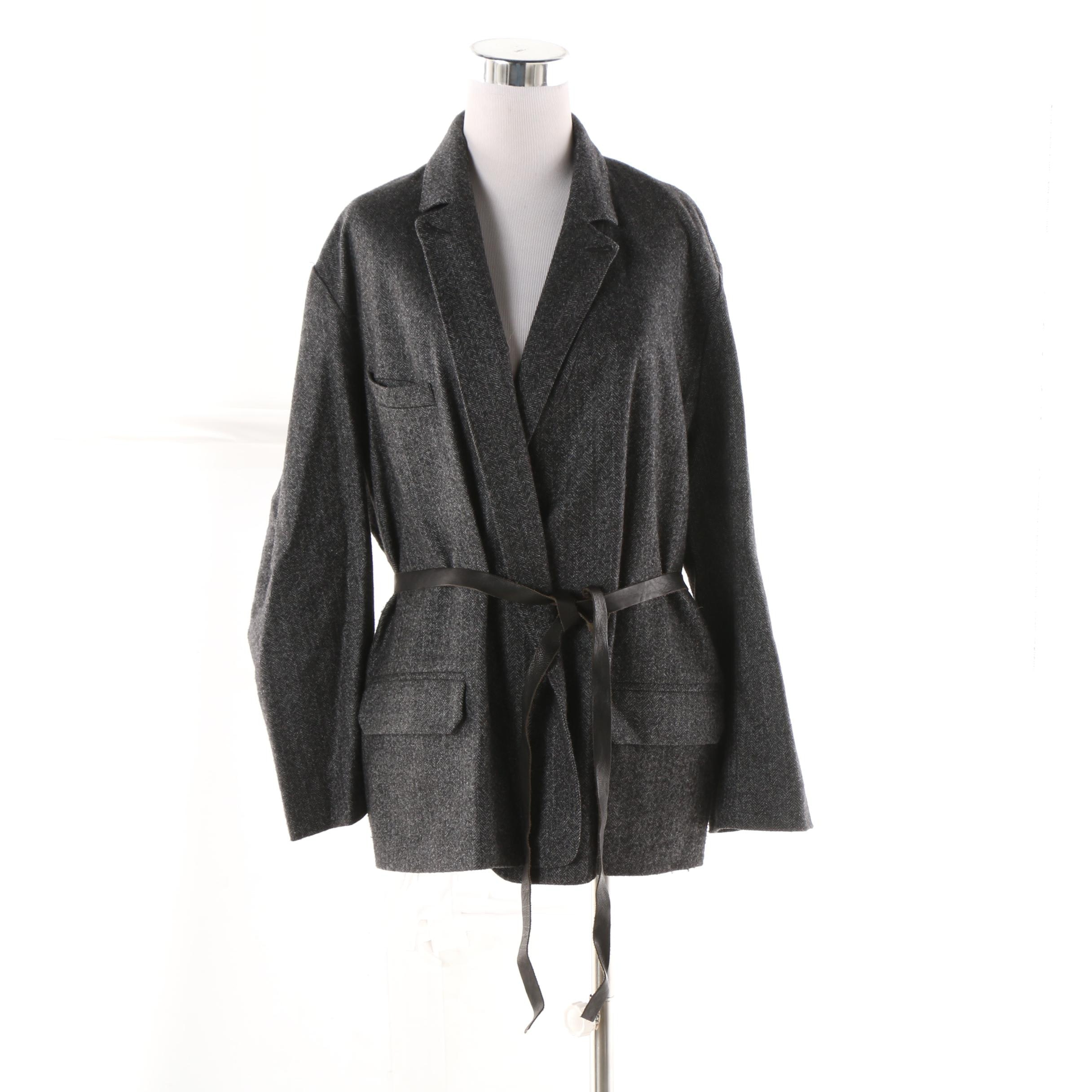 Women's Isabel Marant Charcoal Grey Herringbone Wool Blend Wrap Jacket