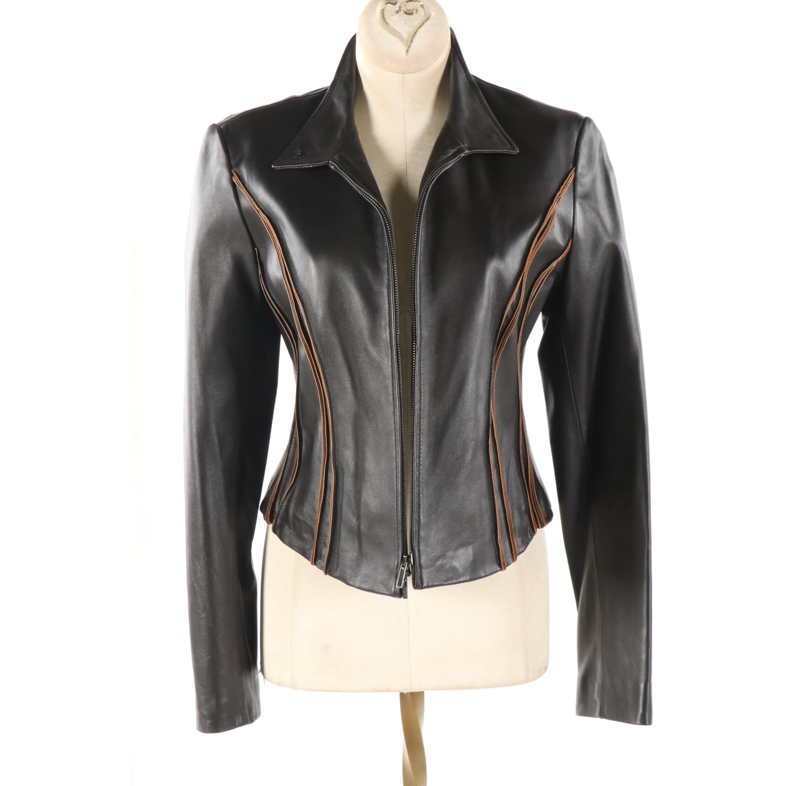 Women's Anne Klein New York Black Leather Two-Tone Jacket