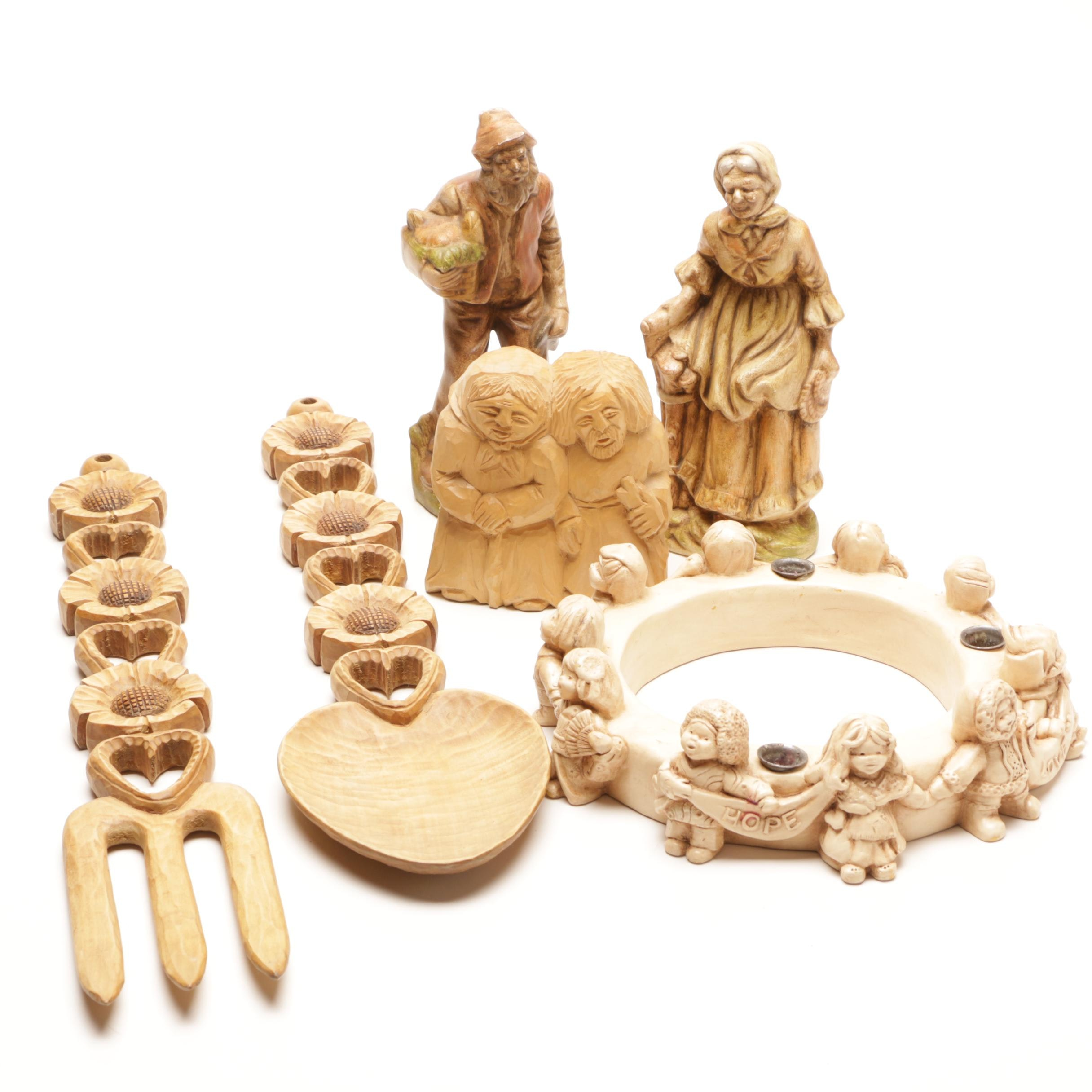 Old World European Figurines and Rustic Decor