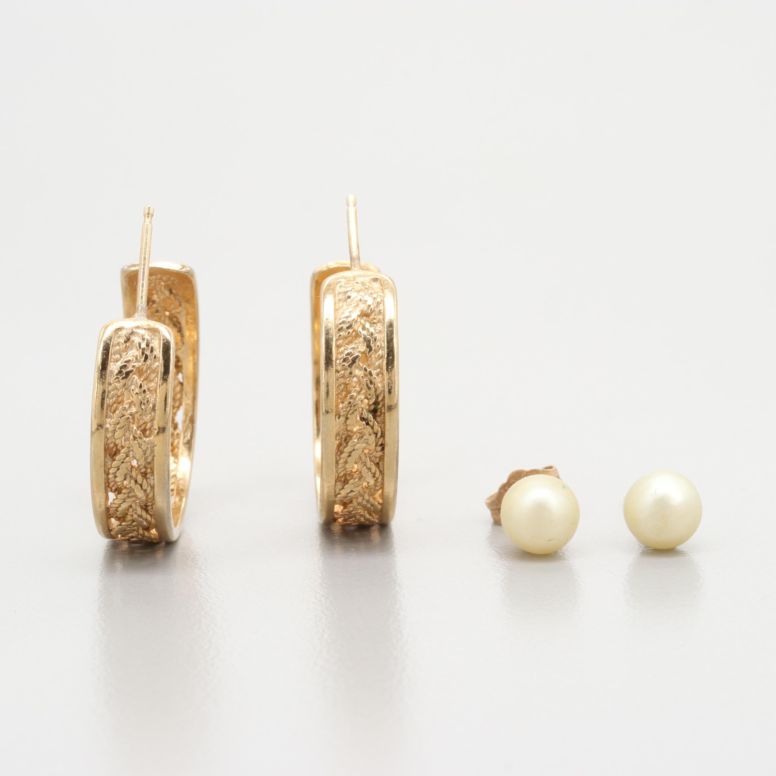 14K Yellow Gold and Gold Tone Imitation Pearl Earrings