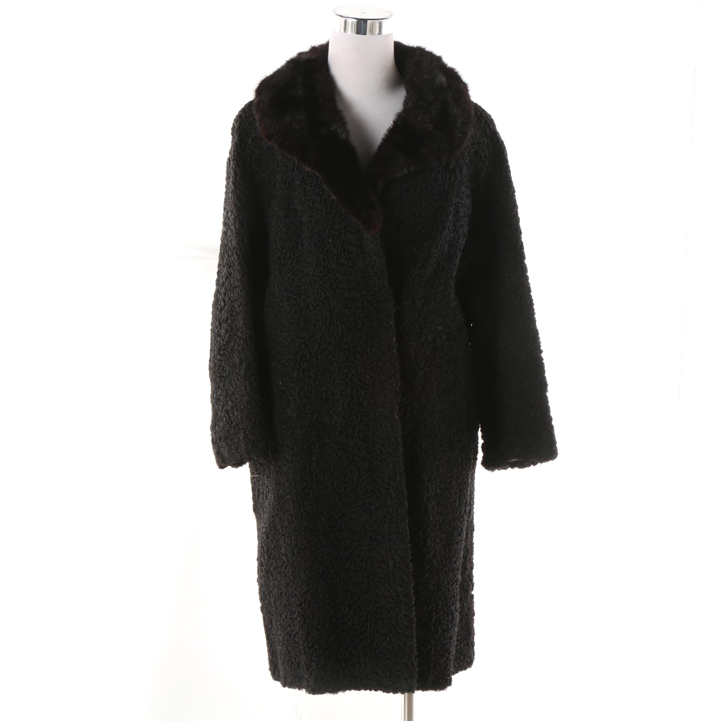 Women's Late 1960s La Cie E. Prémont Persian Lamb Fur Coat with Mink Fur Collar