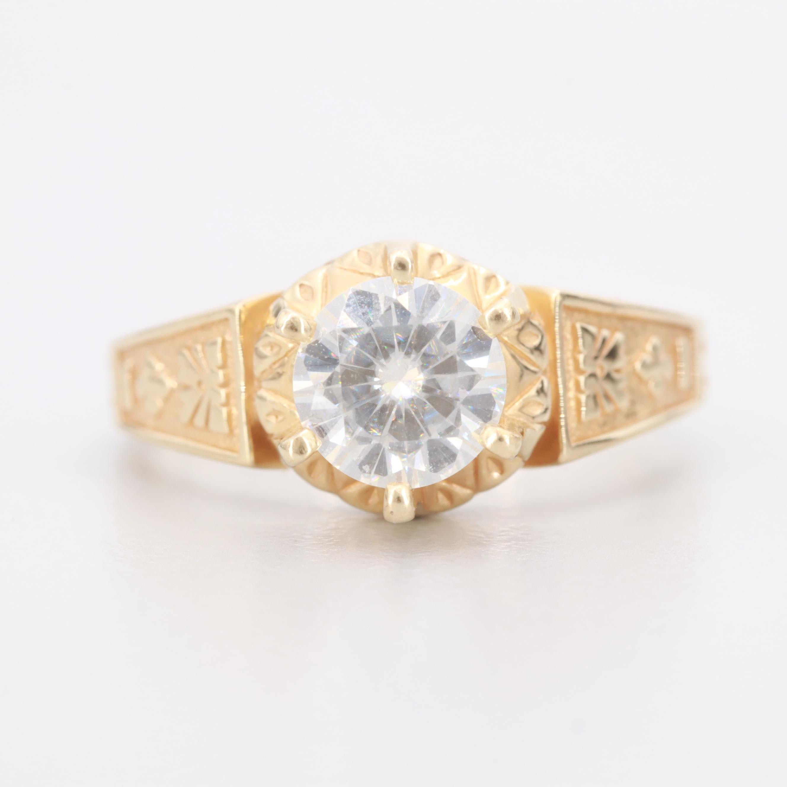 14K Yellow Gold Moissanite Ring