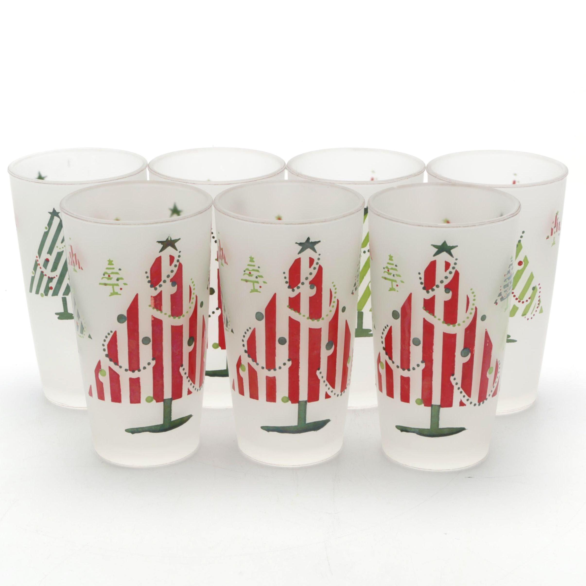 Hazel Atlas Mid-Century Frosted  Christmas Tree Glasses