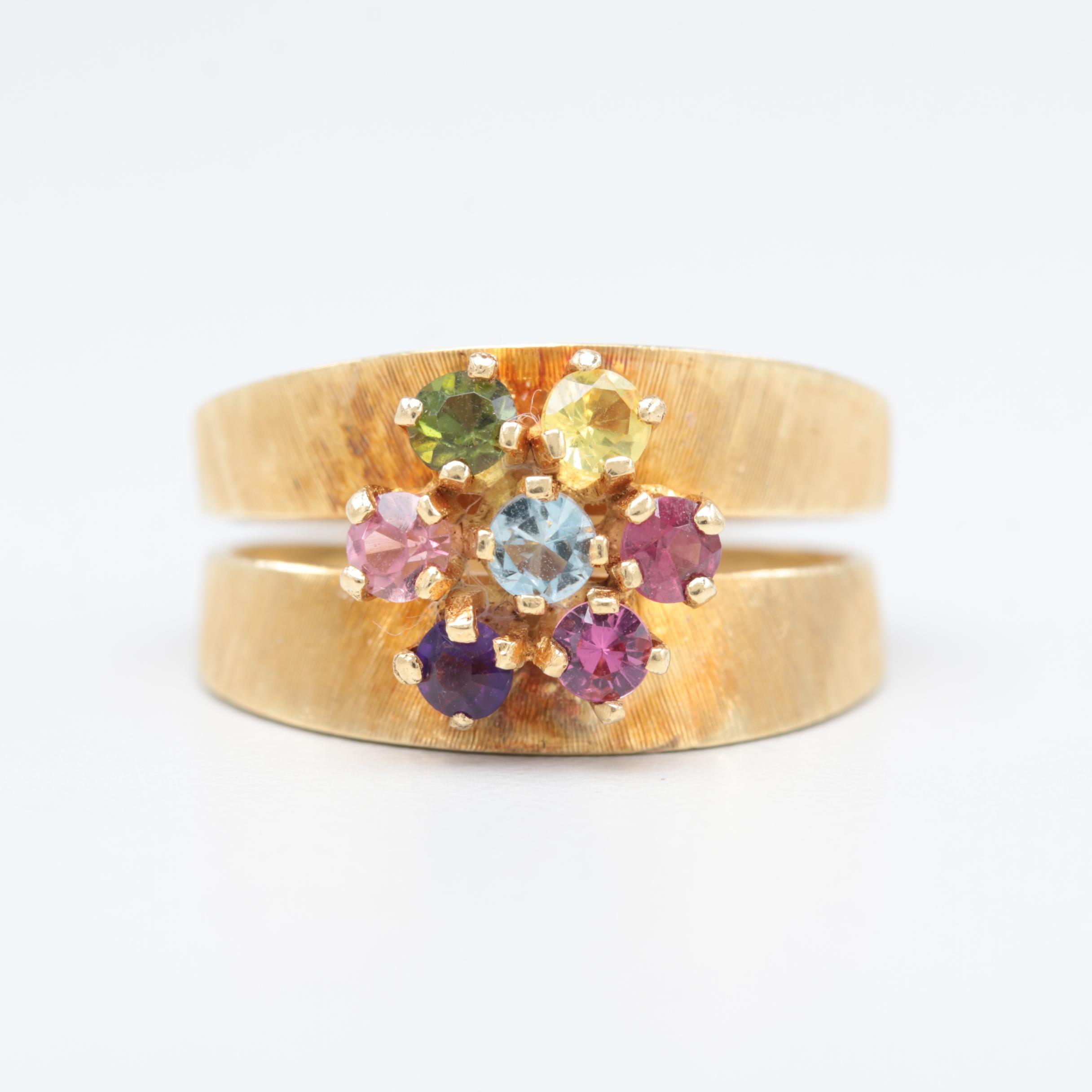 18K Yellow Gold Aquamarine, Yellow Sapphire and Gemstone Ring