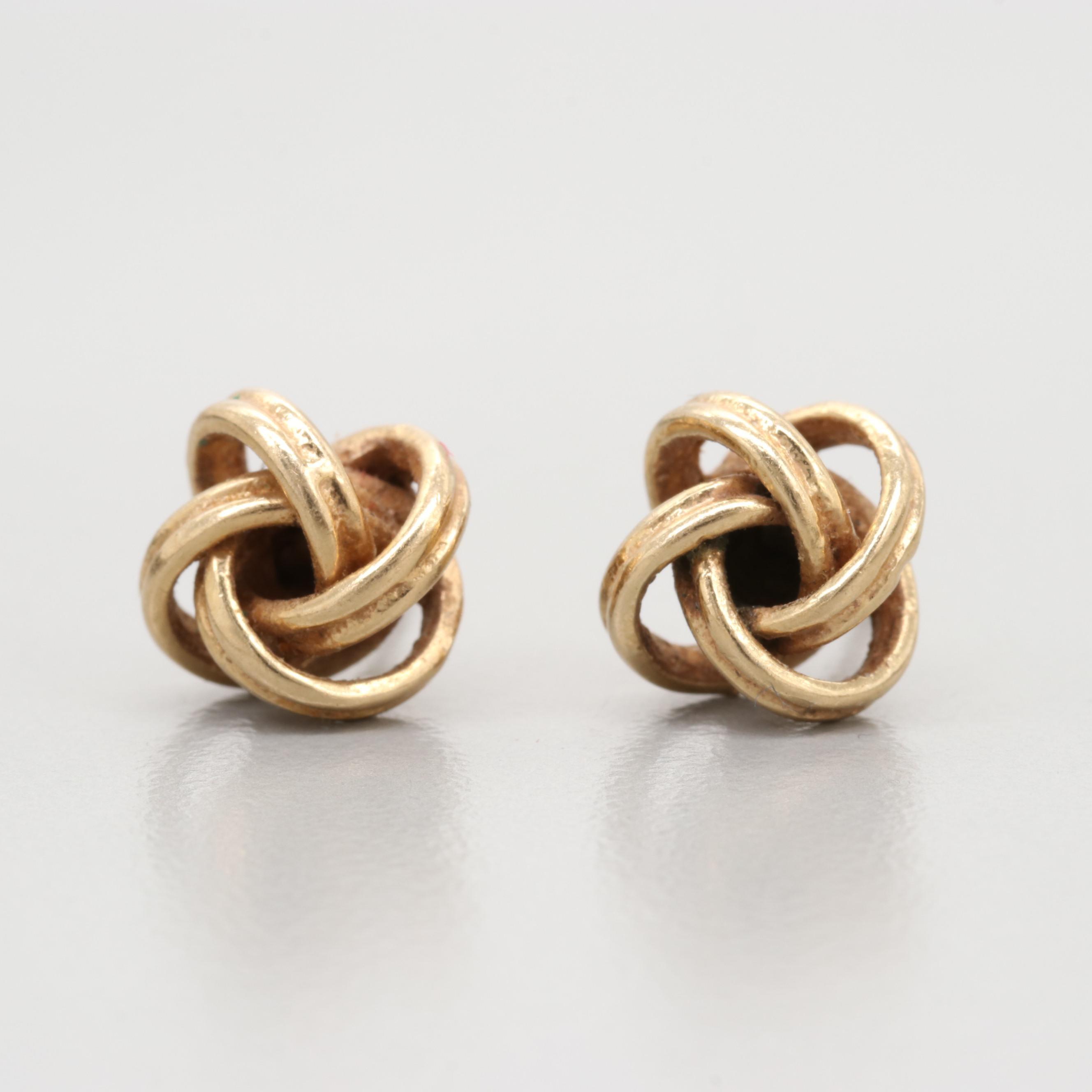14K Yellow Gold Infinity Knot Earrings