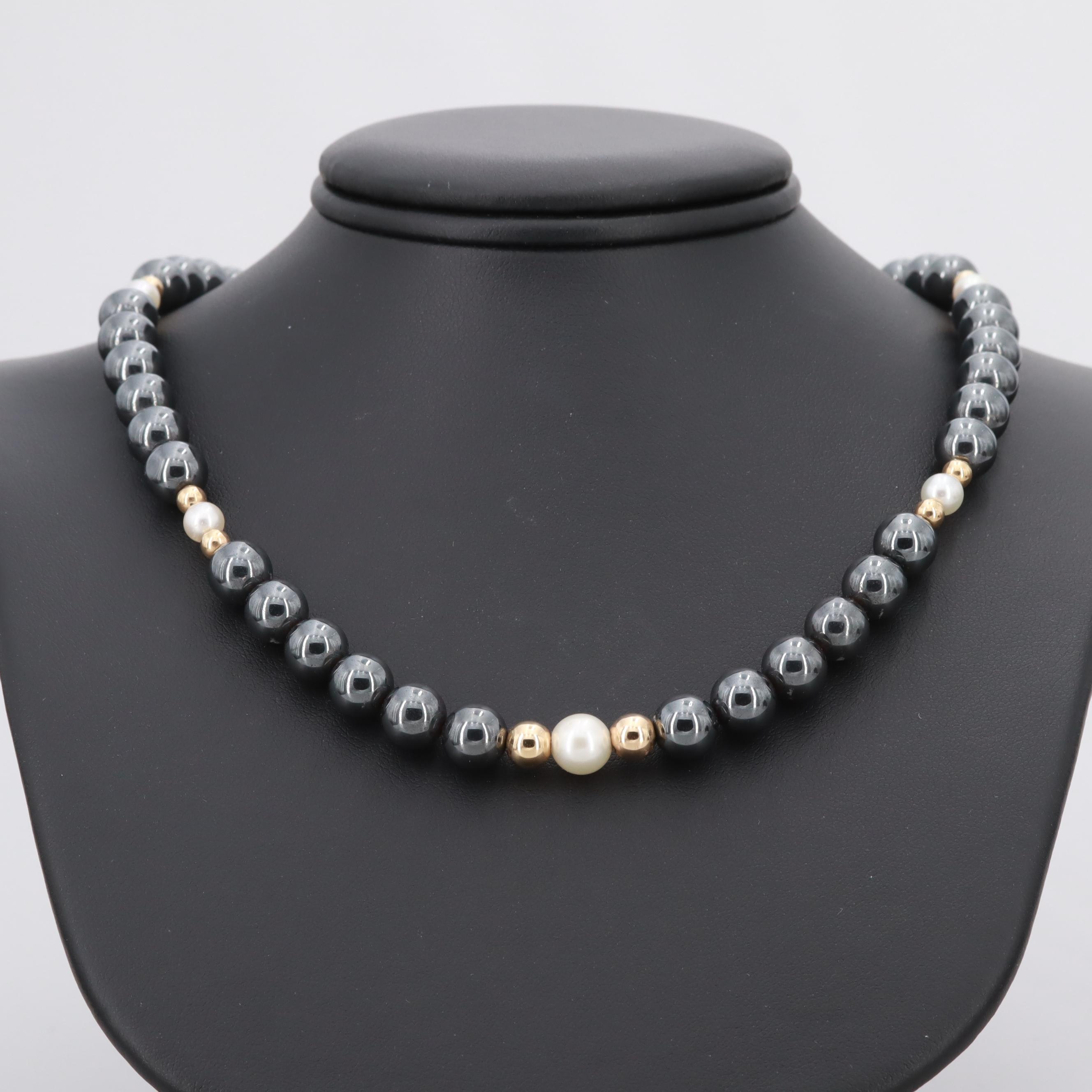 14K Yellow Gold Hematite and Cultured Pearl Necklace
