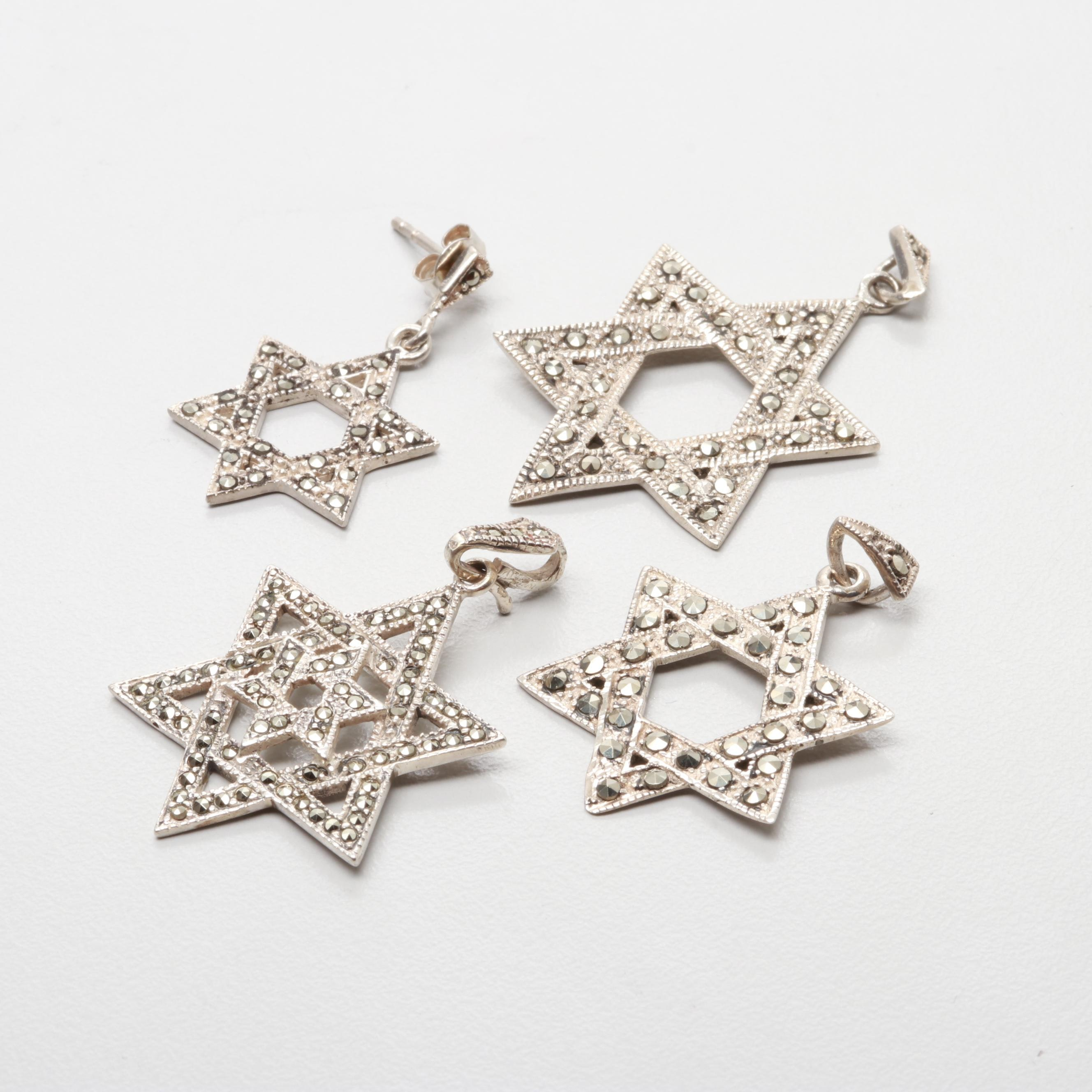 Sterling Silver Marcasite Star Of David Pendants and Earring