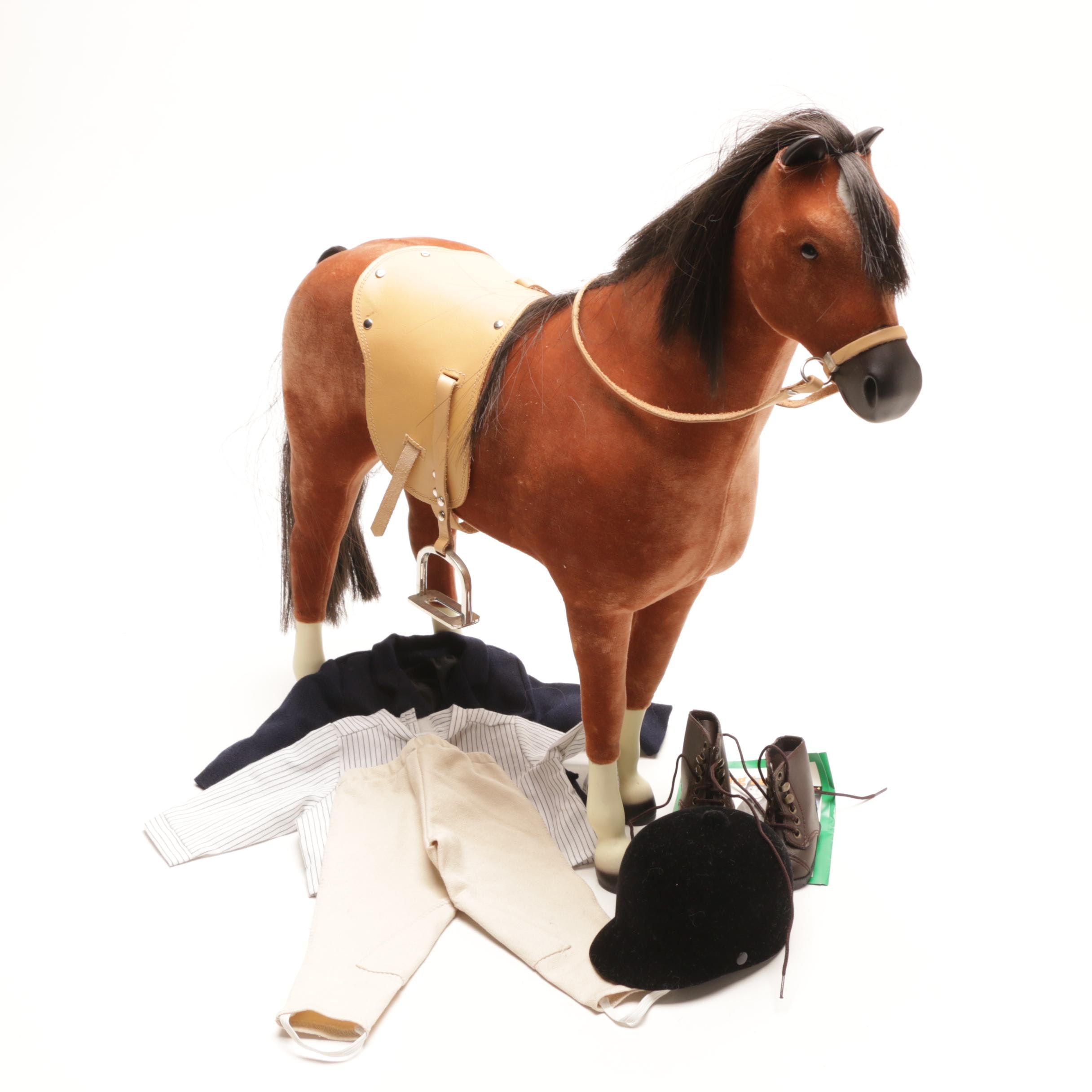 """American Girl Horse """"Penny"""" With Leather Saddle and Riding Outfit"""