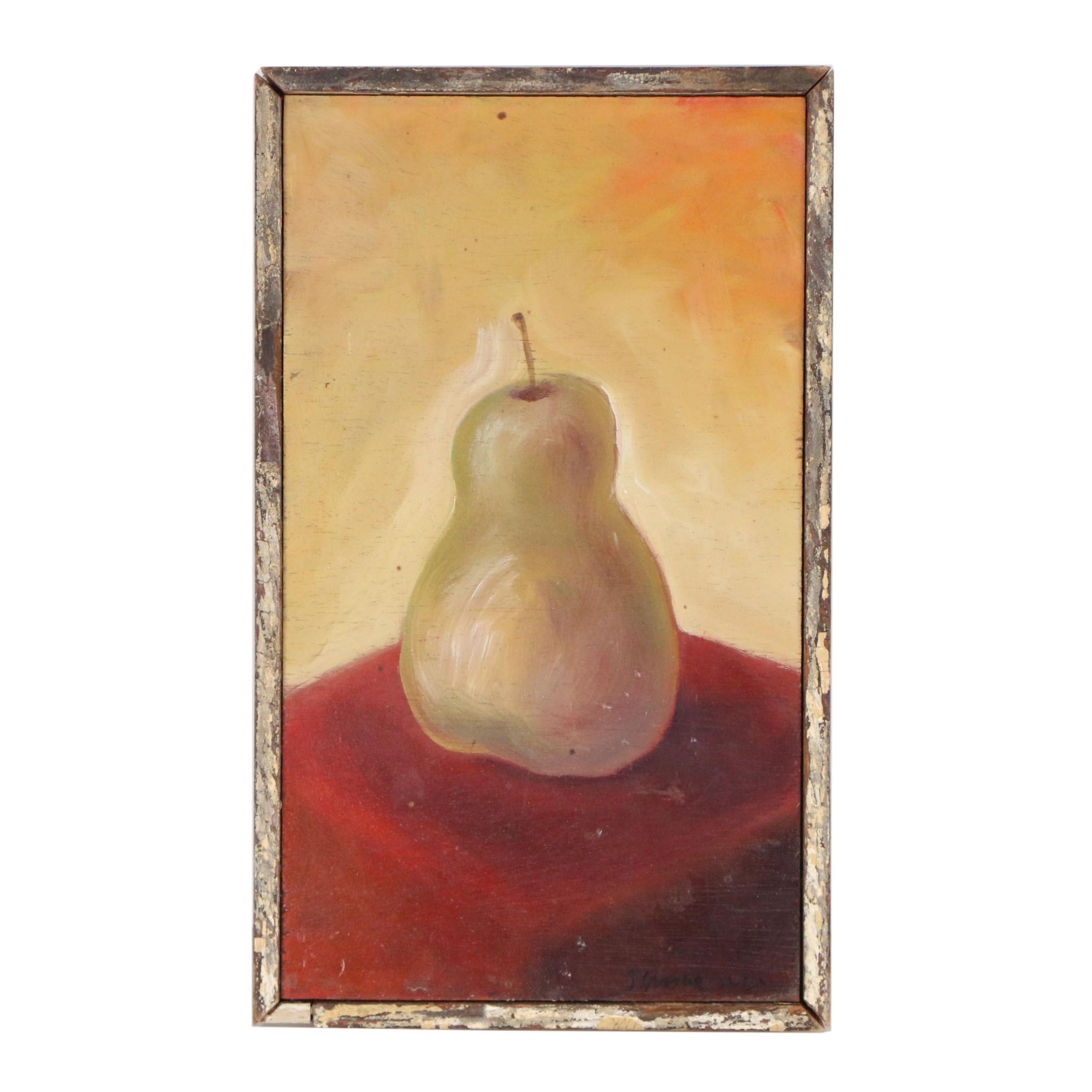"2001 Still Life Oil Painting ""Pear on a Red Table"""