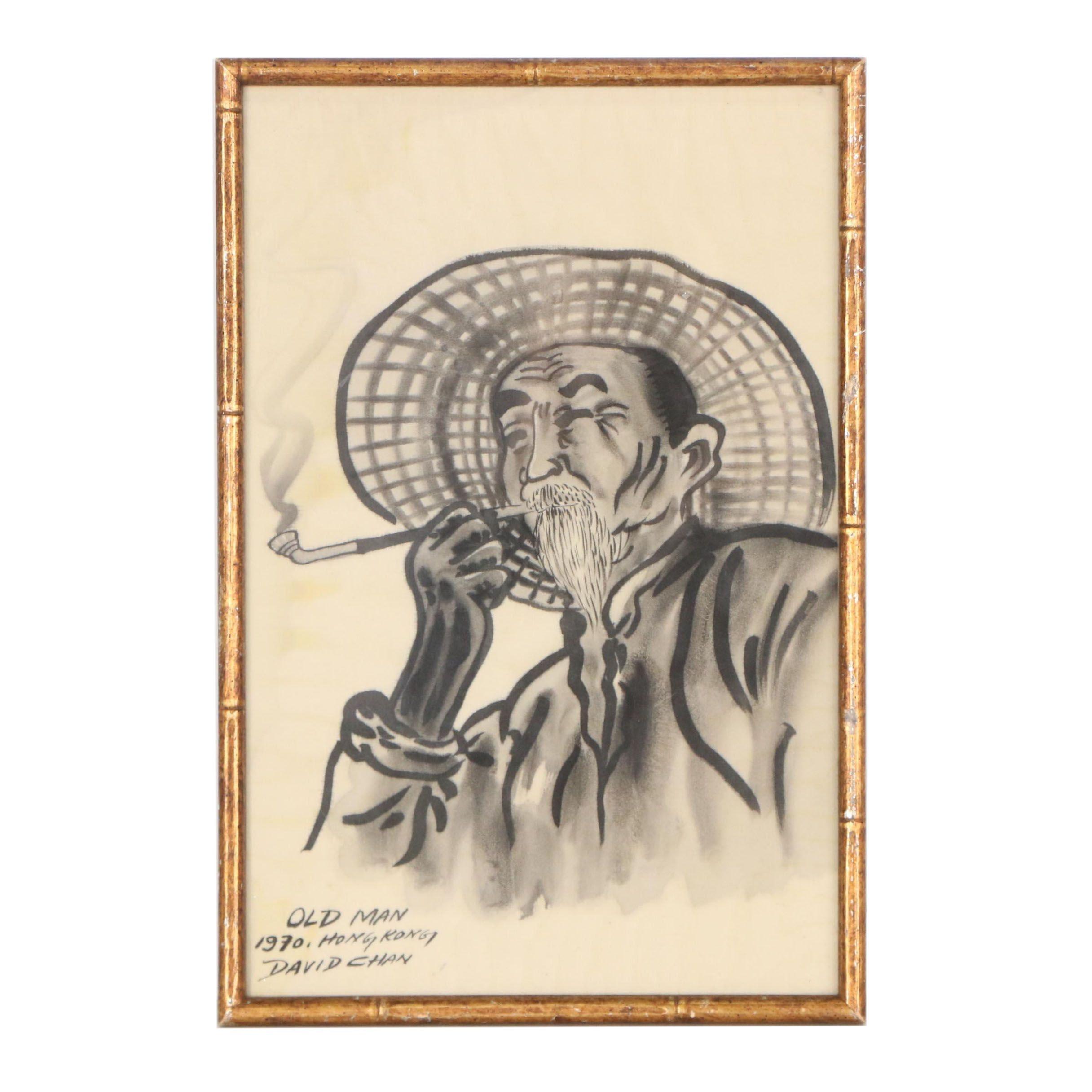 """David Chan Ink and Wash Drawing """"Old Man"""""""