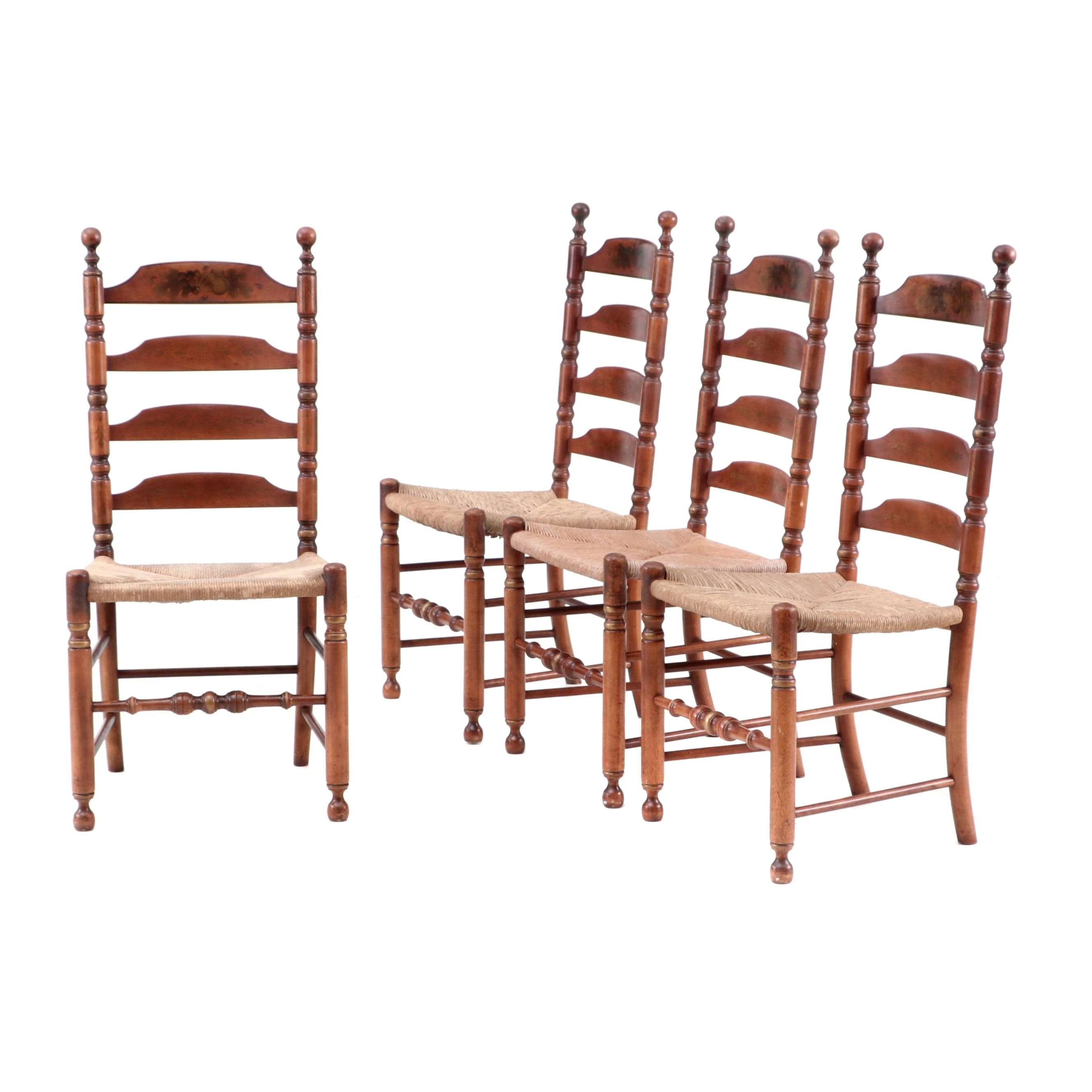Four Hitchcock Ladder-Back Side Chairs
