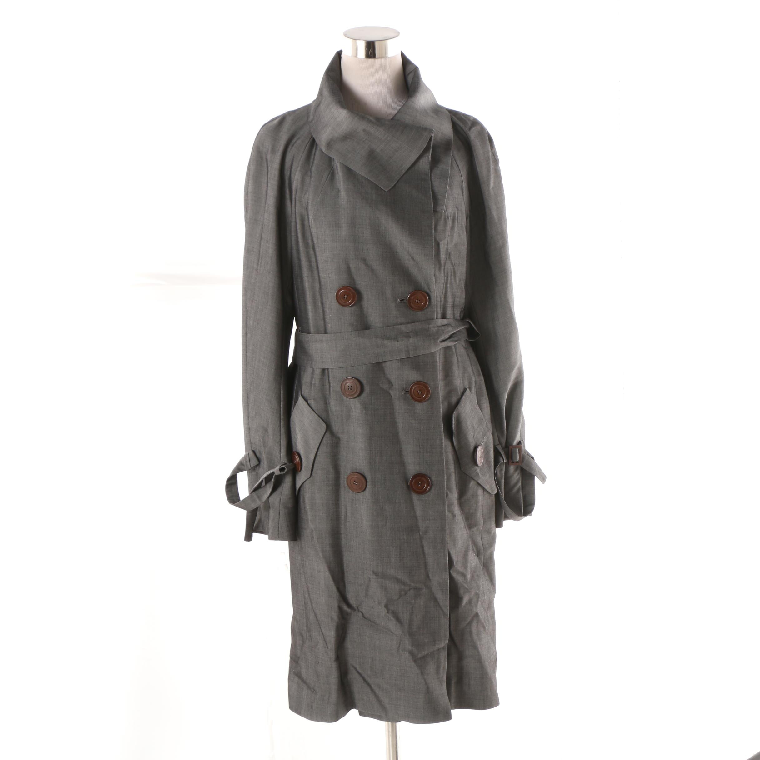 Charles Chang-Lima Grey Double-Breasted Overcoat and Skirt Set