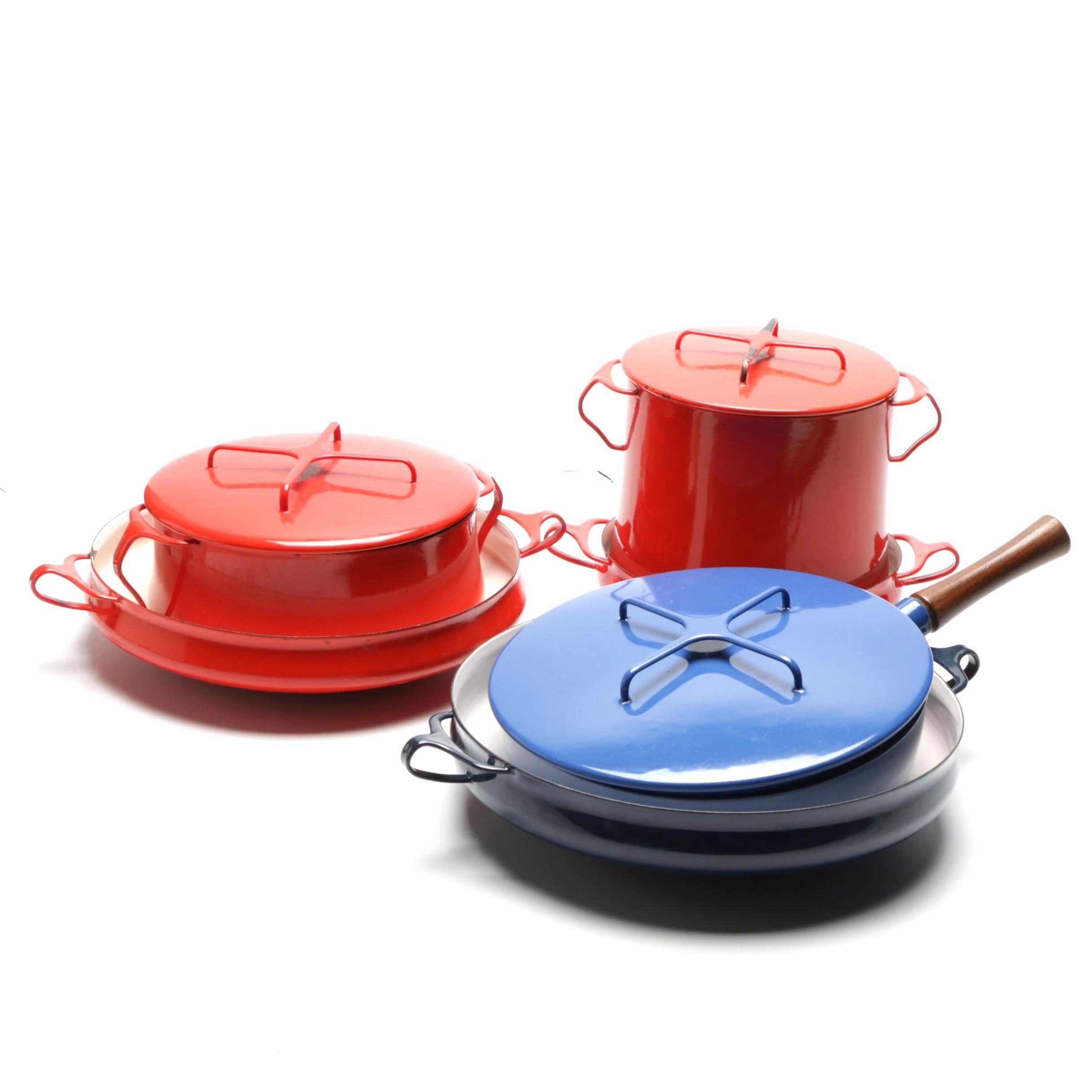 Dansk Kobenstyle Enamel Cookware in Red and Blue