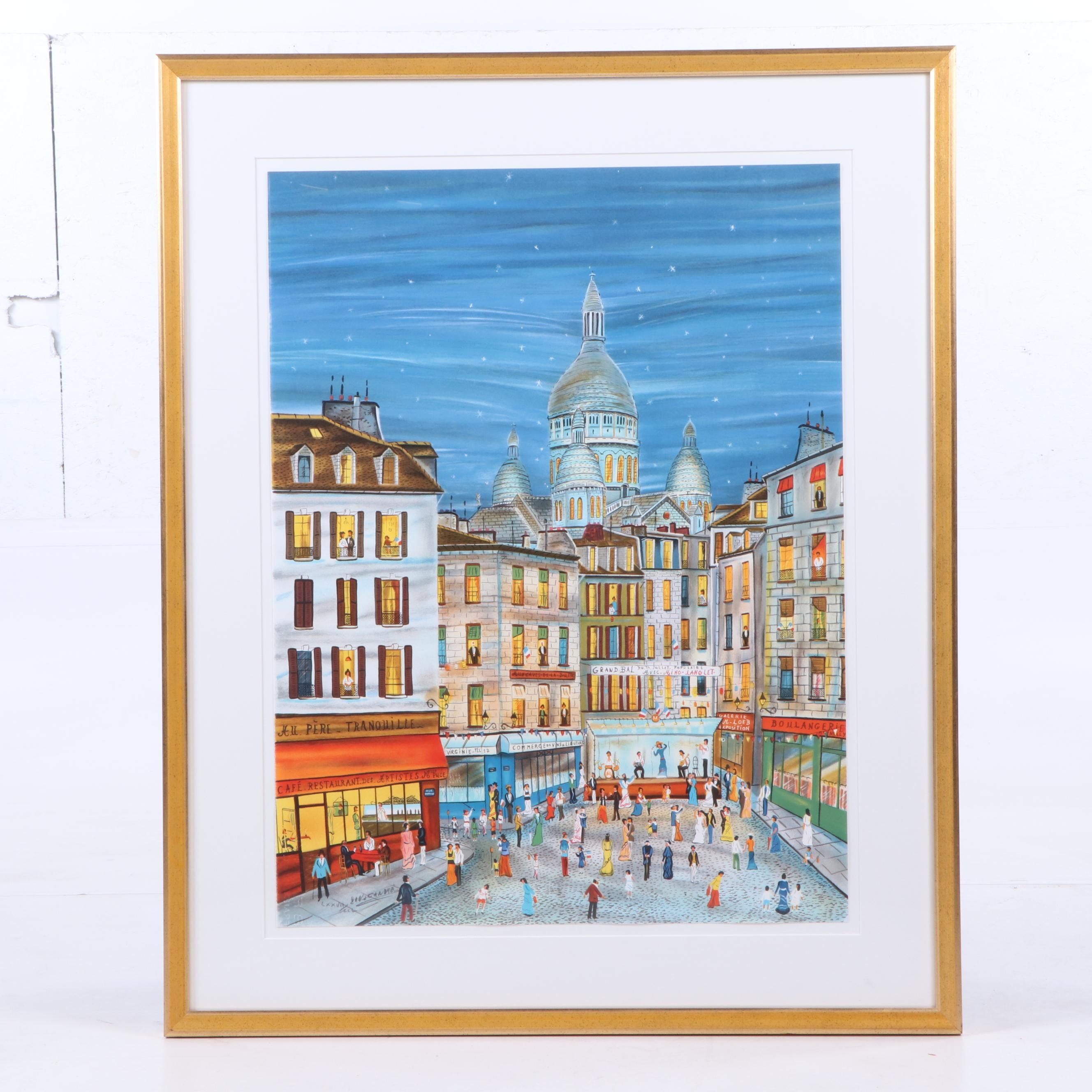 "Dan Gandre Serigraph ""Grand Ball of July 14 in Montmartre"""