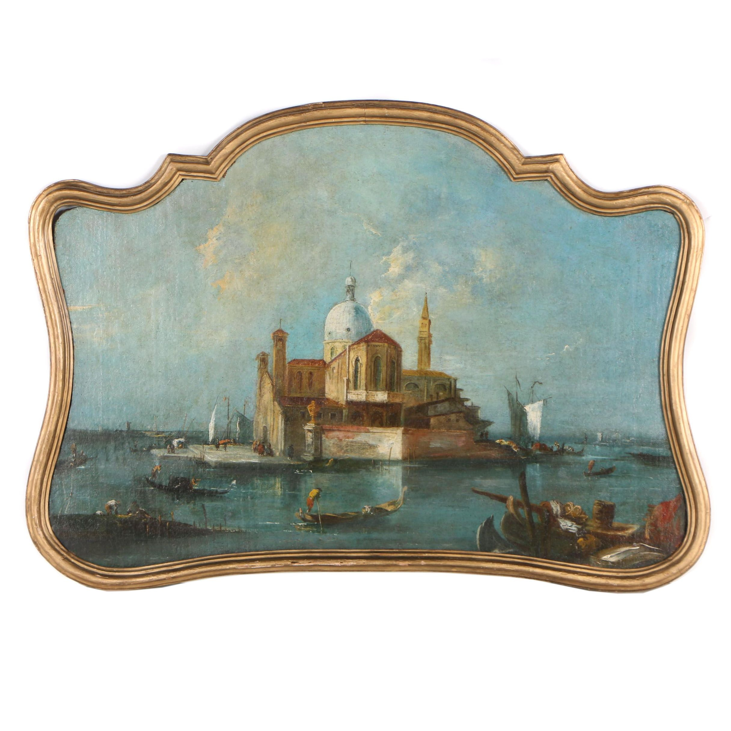 Late 20th Century Oil Painting after Francesco Guardi