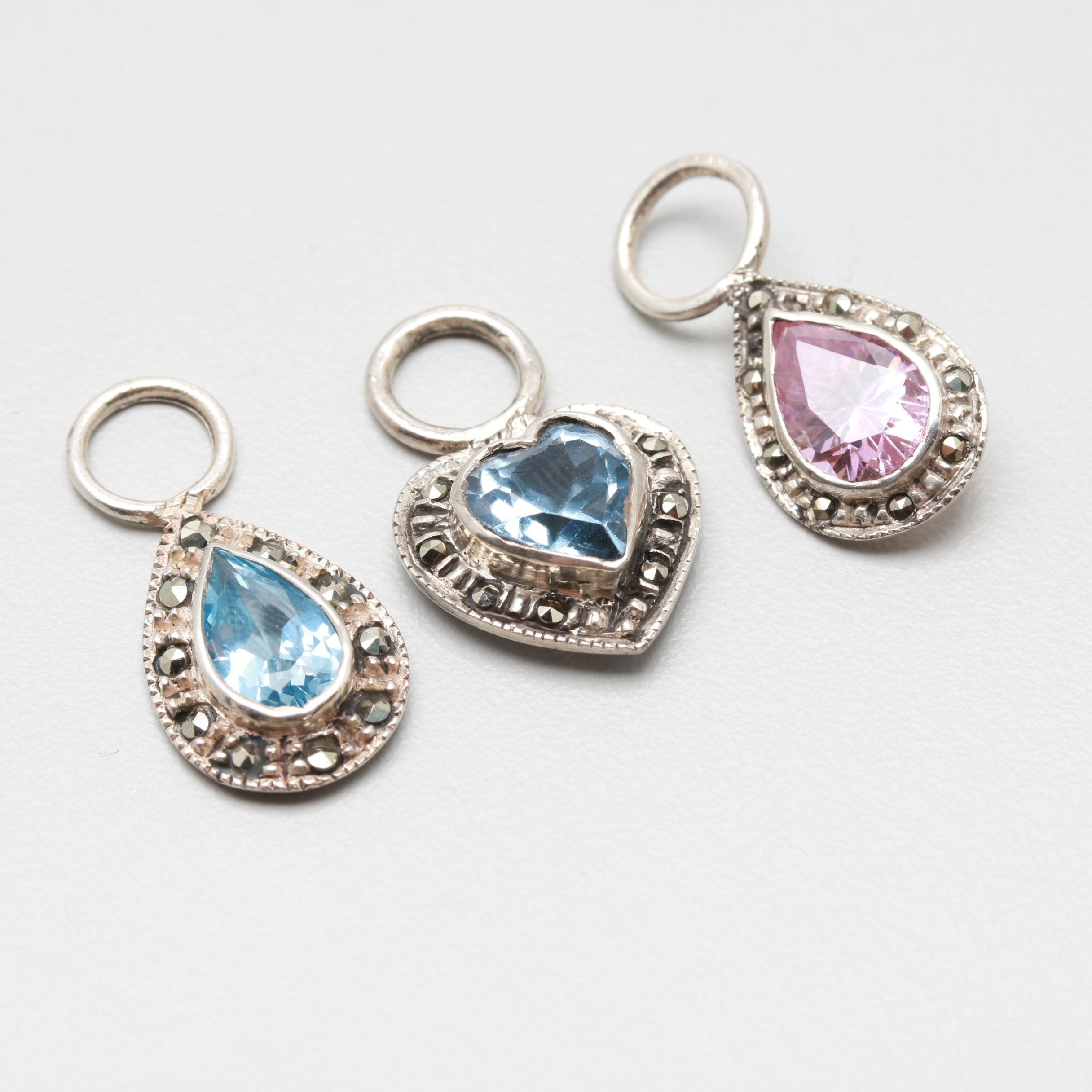 Sterling Silver Synthetic Spinel and Pink Cubic Zirconia Pendants