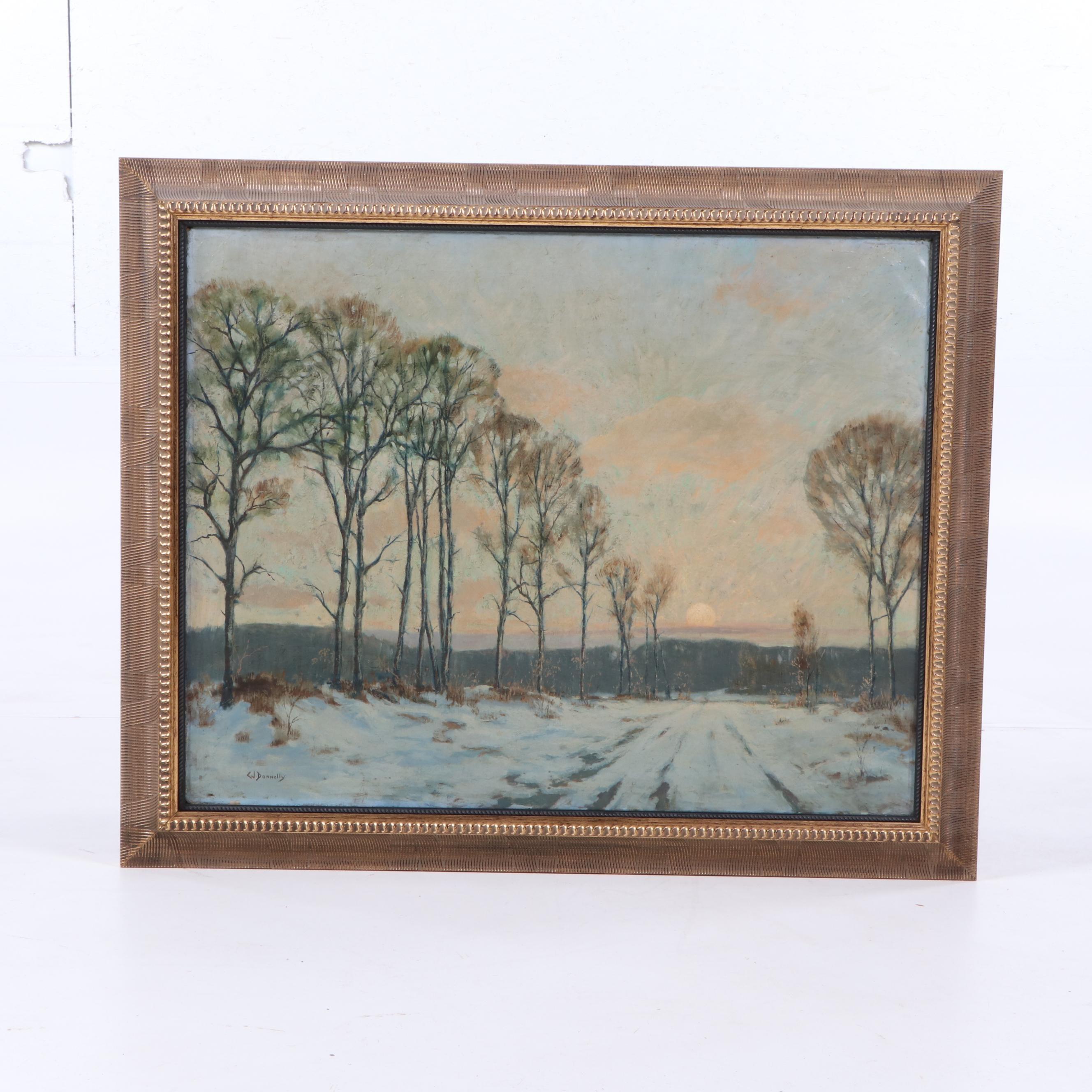 C.J. Donnelly Winter Landscape Oil Painting