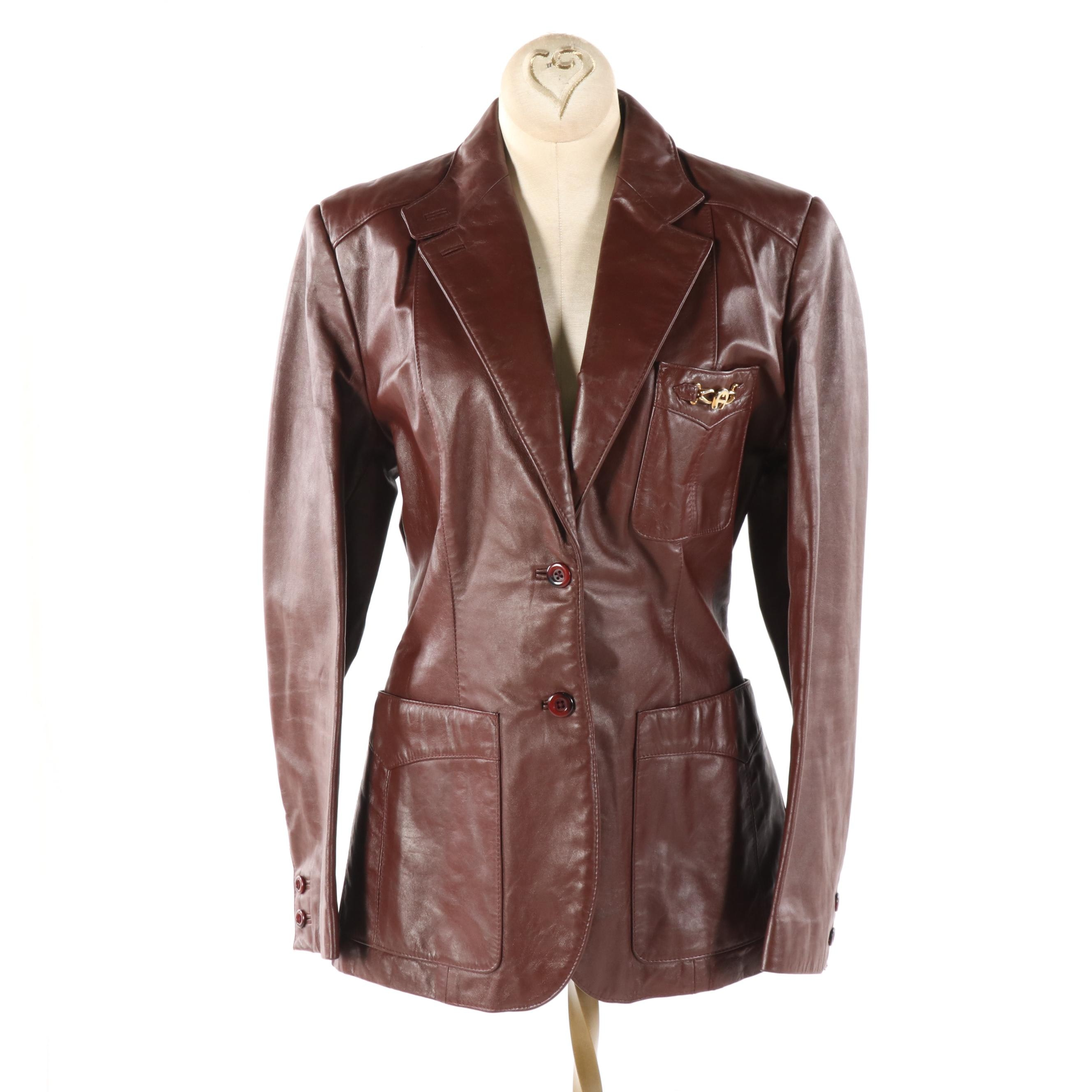 Women's Etienne Aigner Brown Leather Jacket