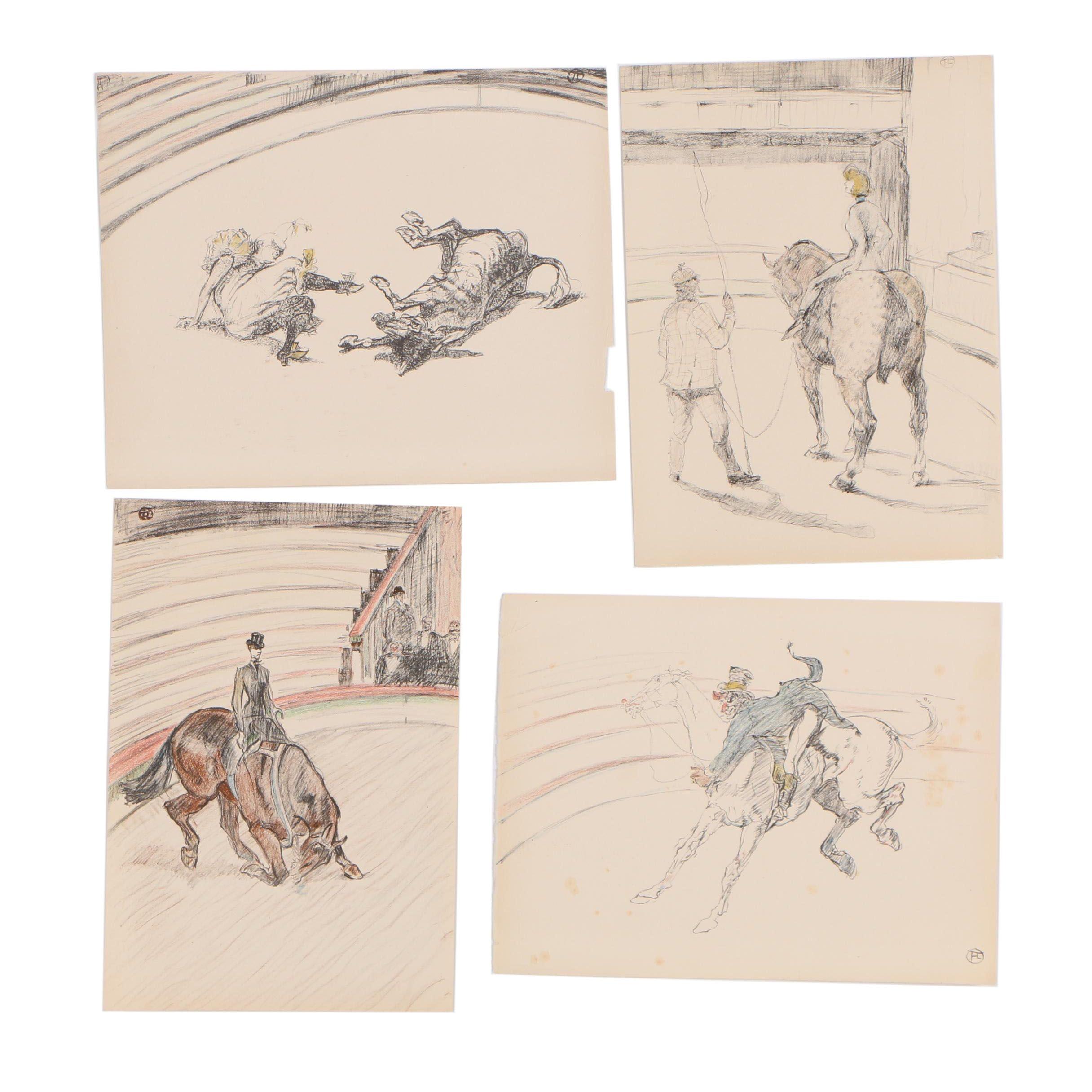 """Four Lithographs after Henri de Toulouse-Lautrec """"At the Circus"""""""
