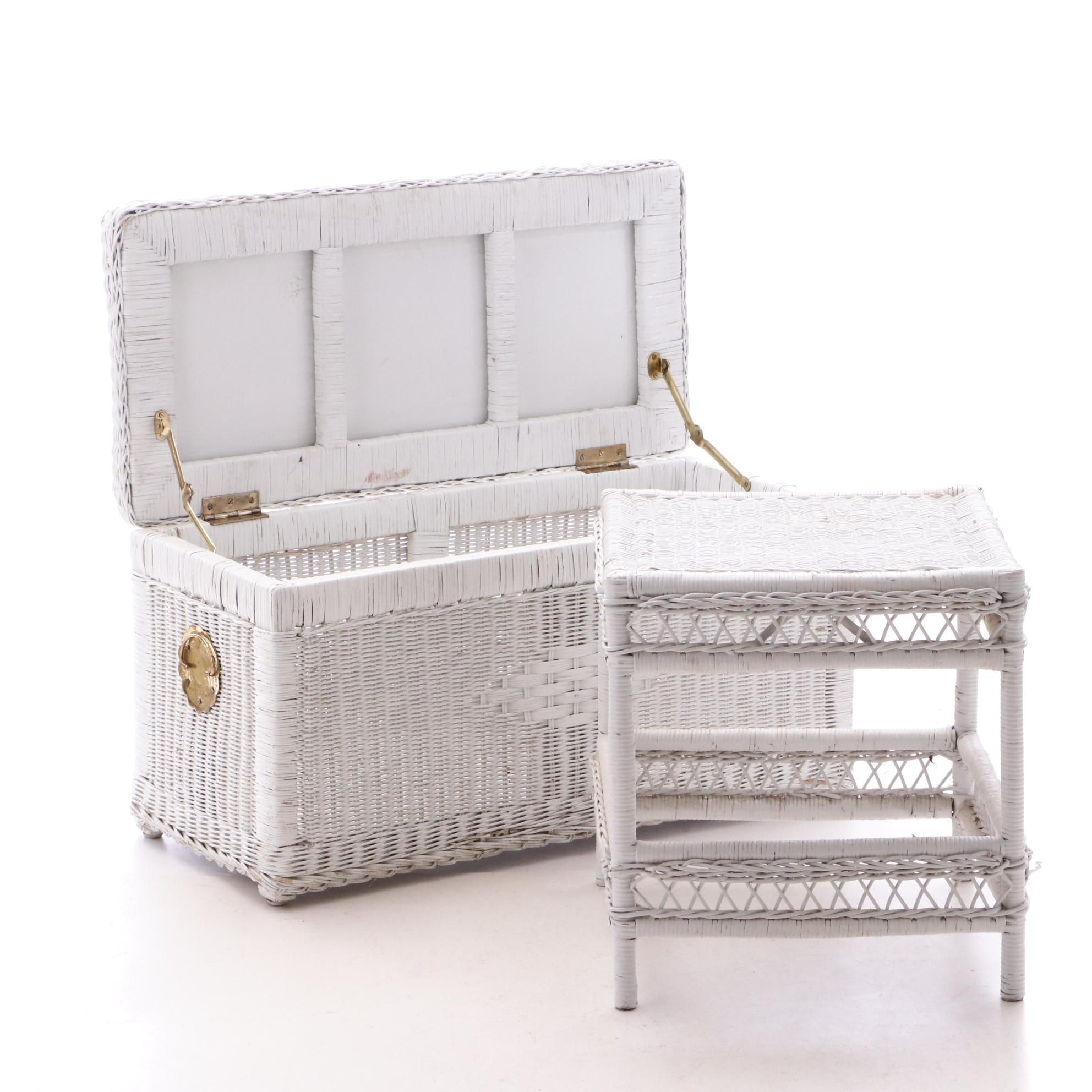 White Wicker Chest and End Table