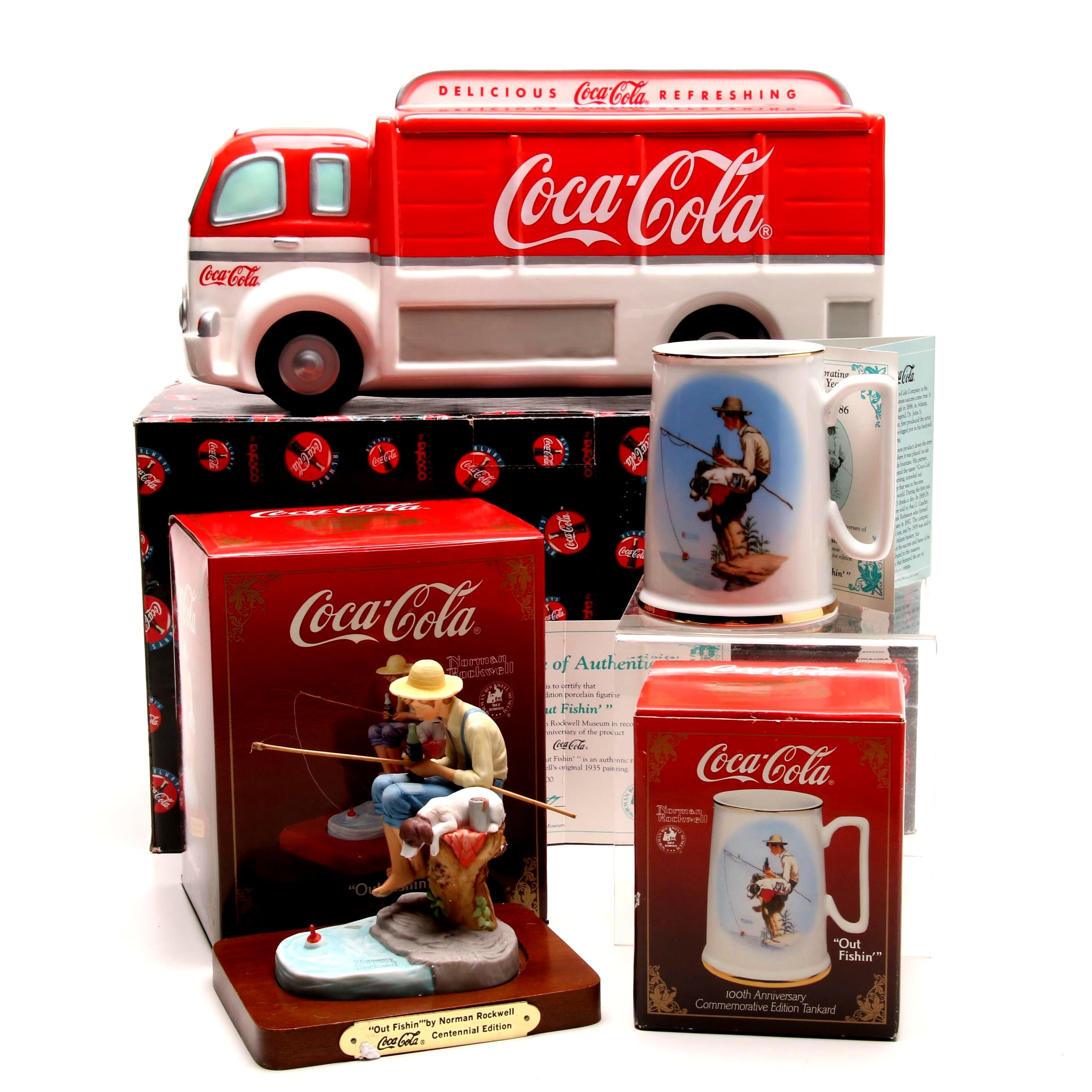 Coca-Cola Ceramic Collectibles Including 100th Anniversary Norman Rockwell Mug