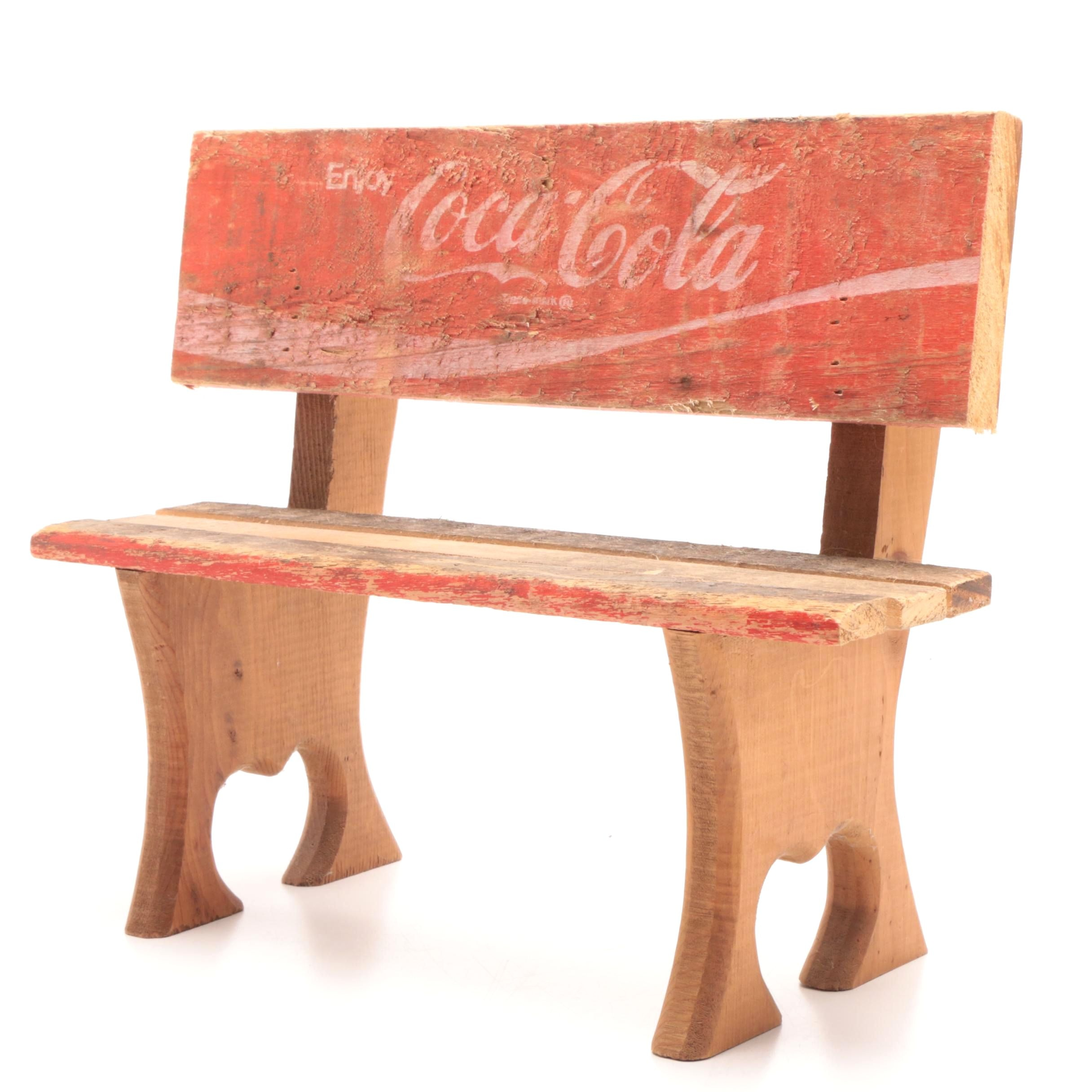 Coca-Cola Miniature Wooden Bench