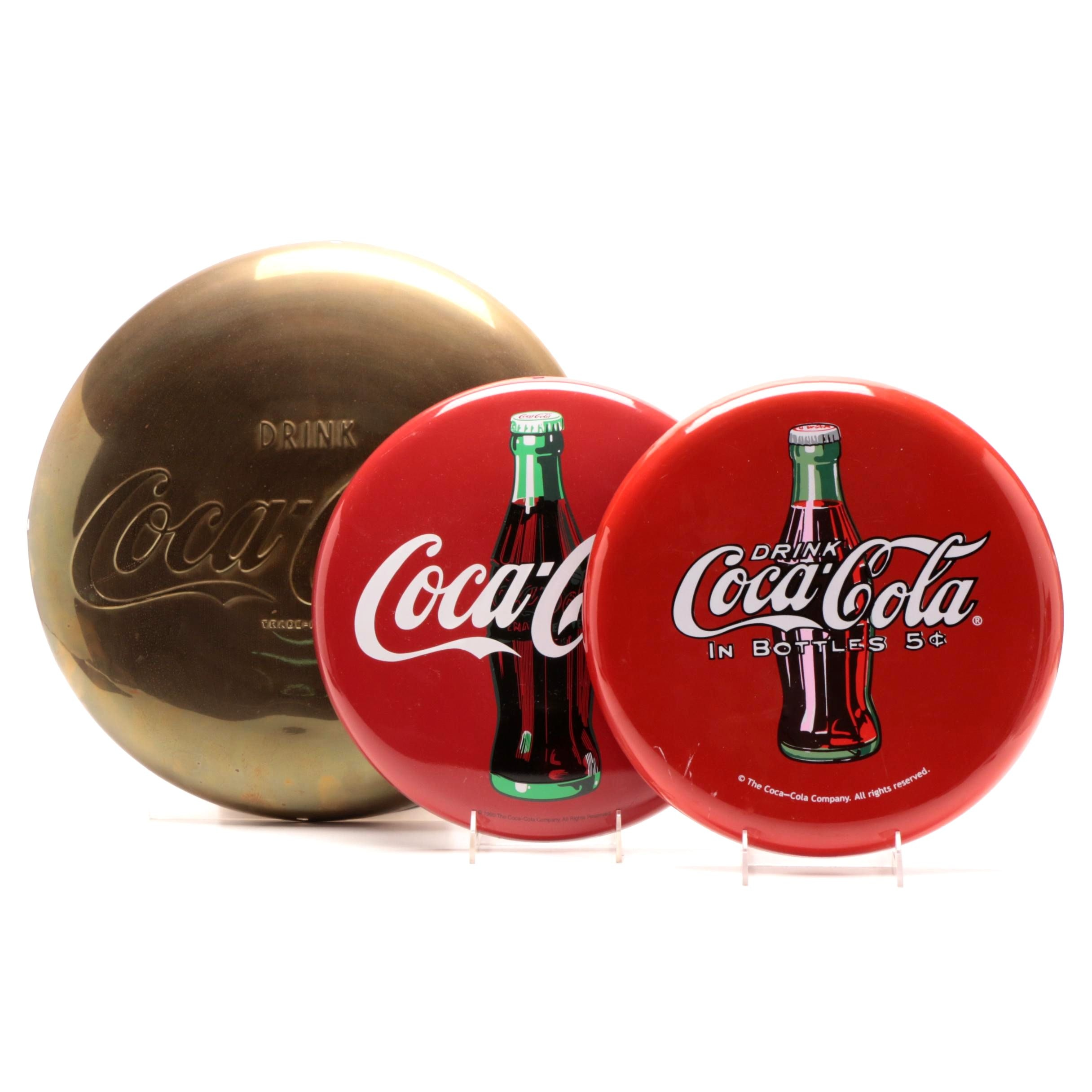 Coca-Cola Metal Button and Tacker-Type Signs