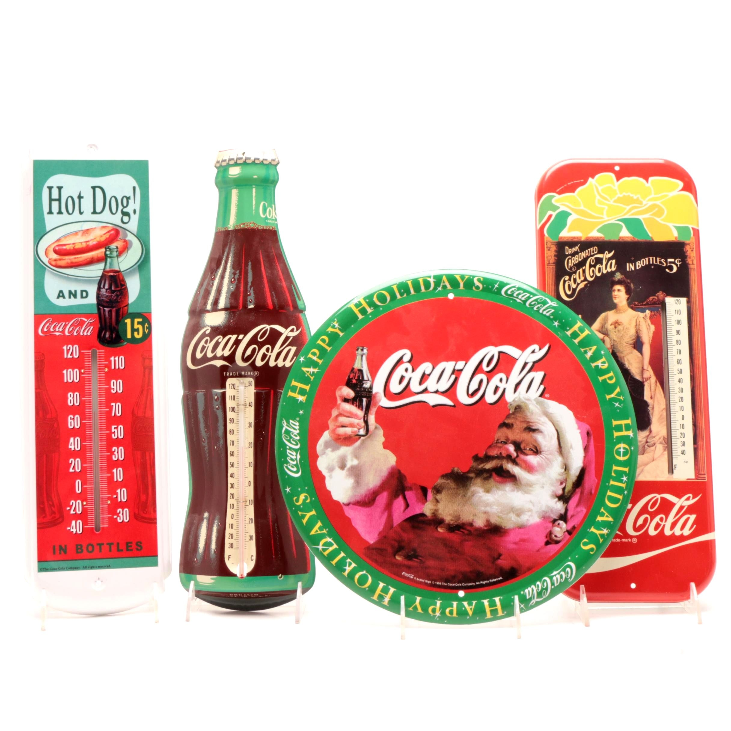 Contemporary Coca-Cola Enamel Thermometers and Sign