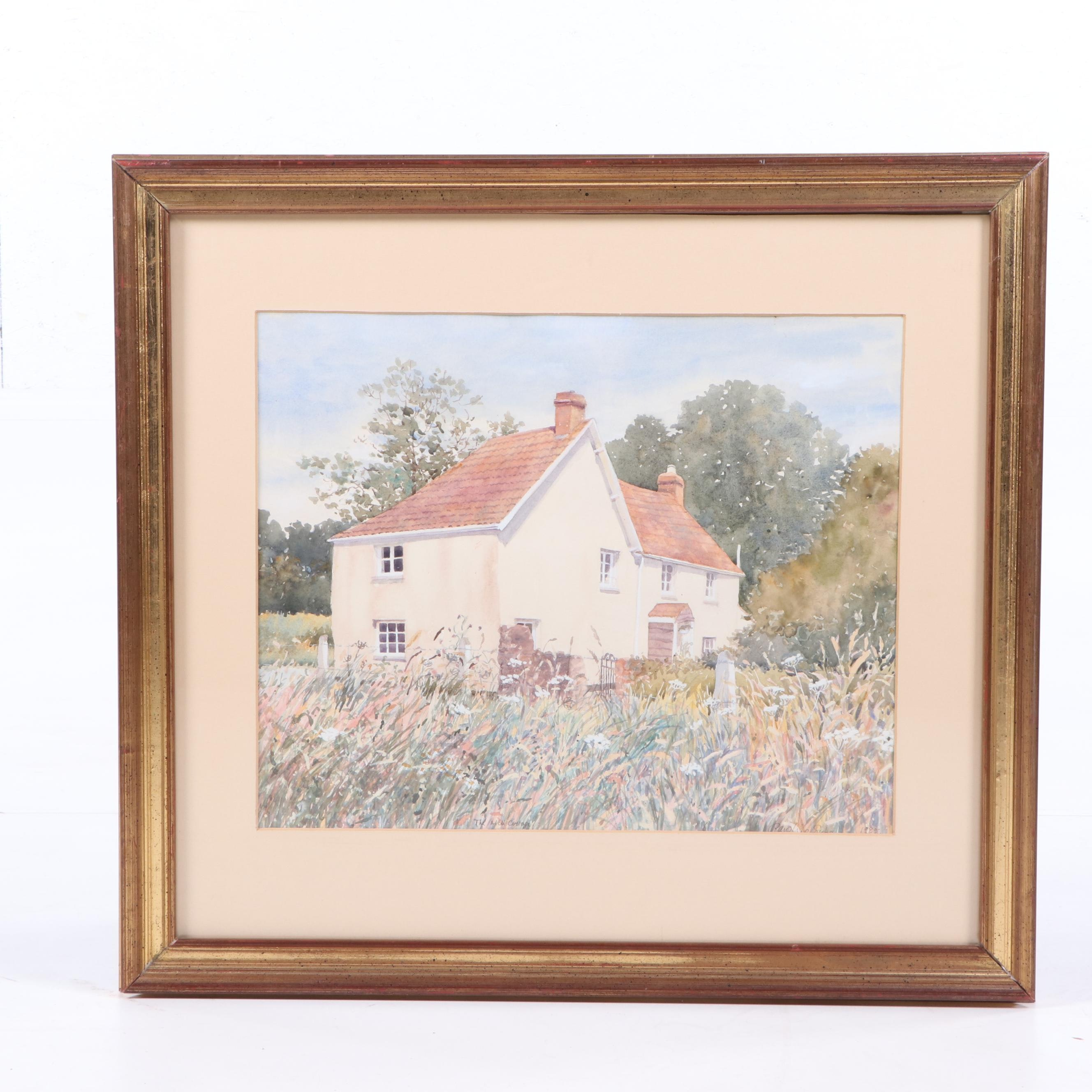 "Caroline Sykes Watercolor Painting ""The Mill Cottage"""