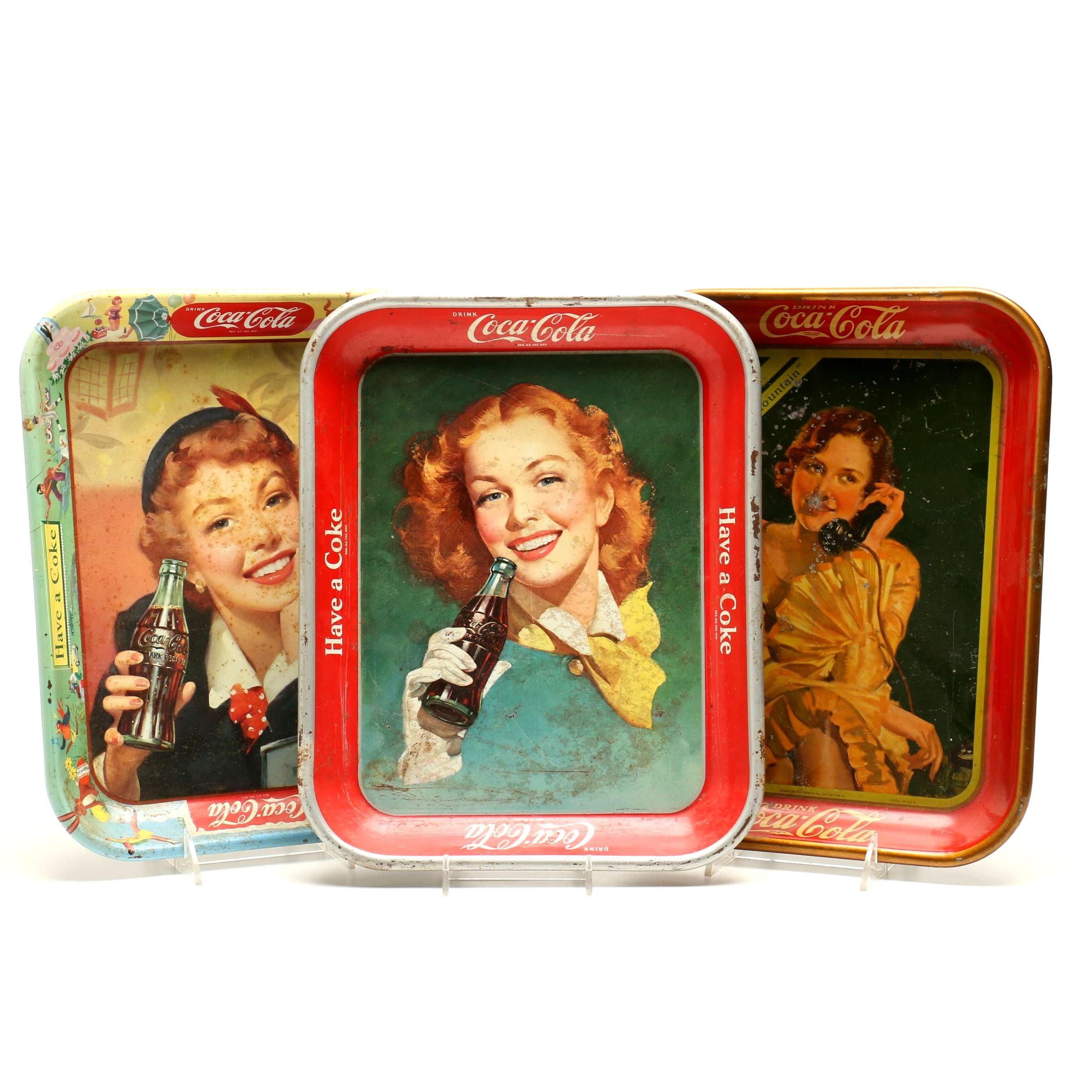 Vintage Metal Coca-Cola Advertising Trays
