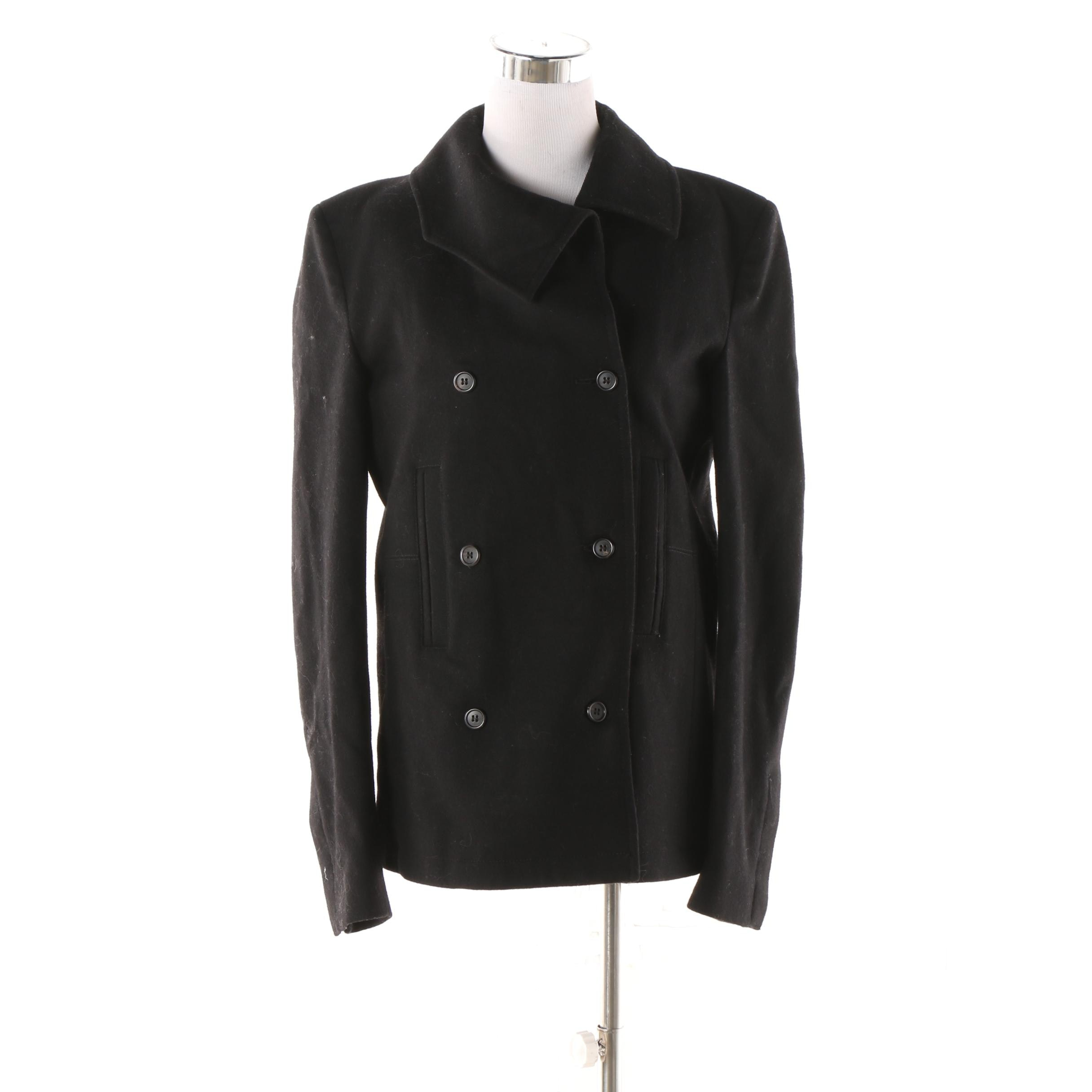 Alexandre Plokhou Black Wool Double-Breasted Jacket, Made in Italy