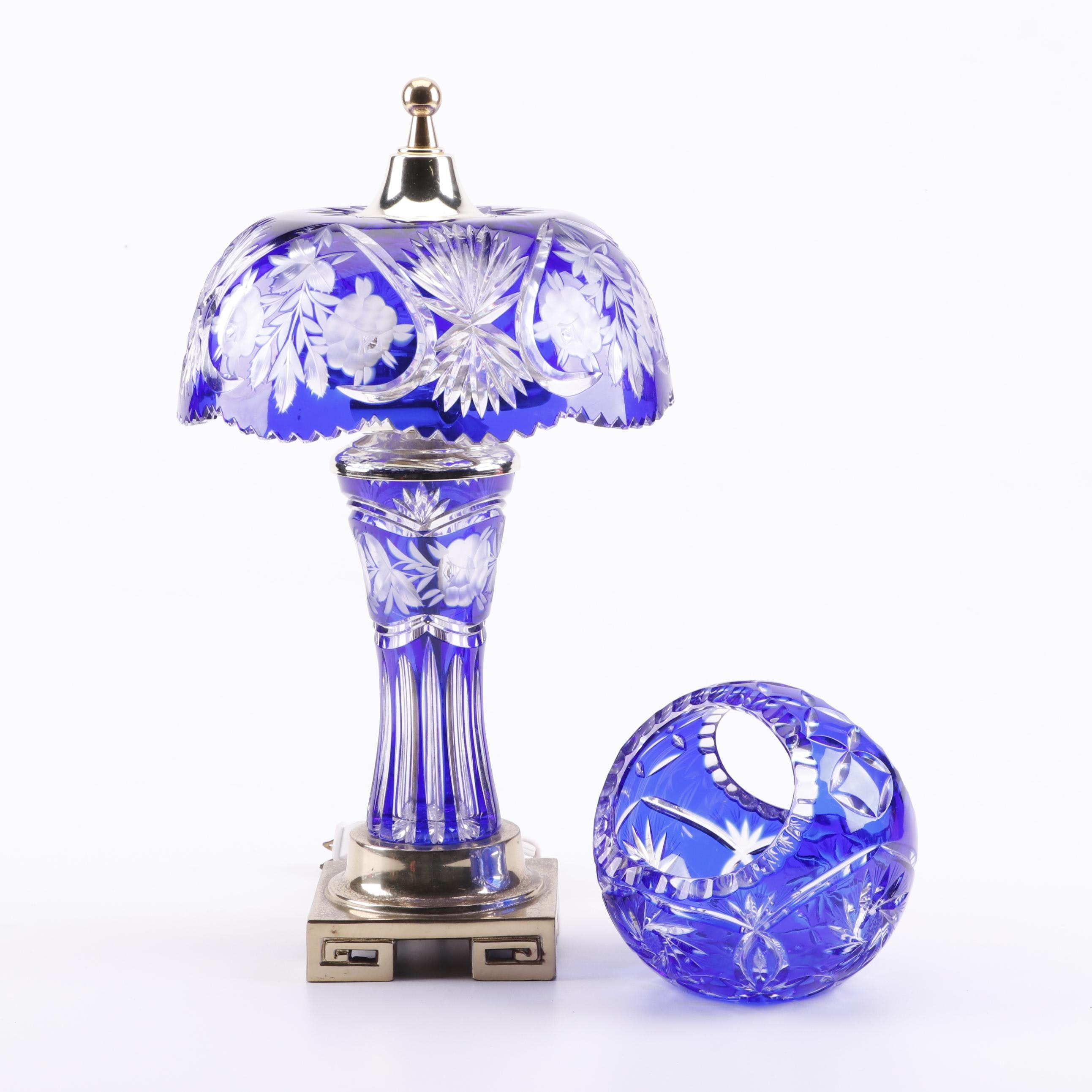 Dresden by Peck Cobalt Cut to Clear Crystal Table Lamp with Crystal Basket