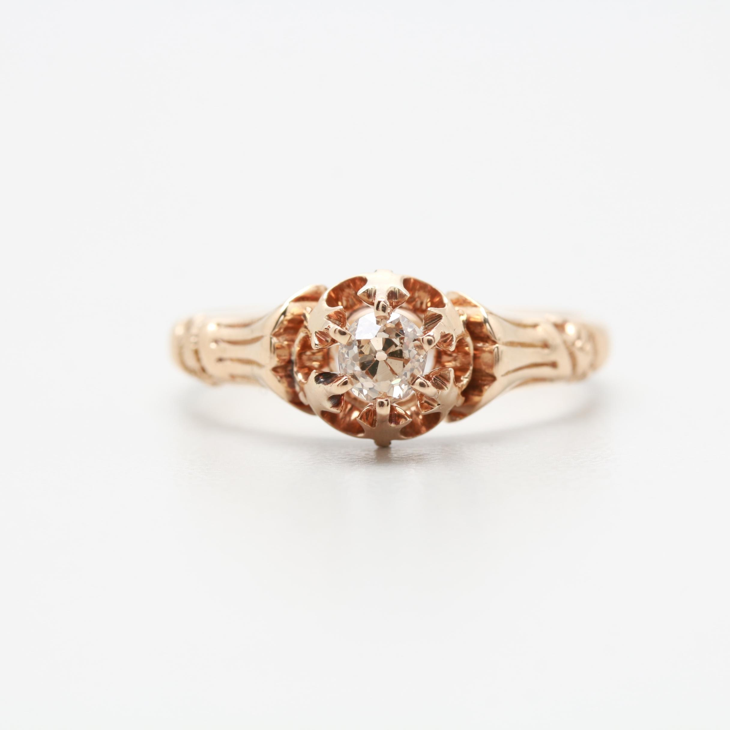 Circa 1900 Late Victorian 14K Rose Gold Diamond Ring