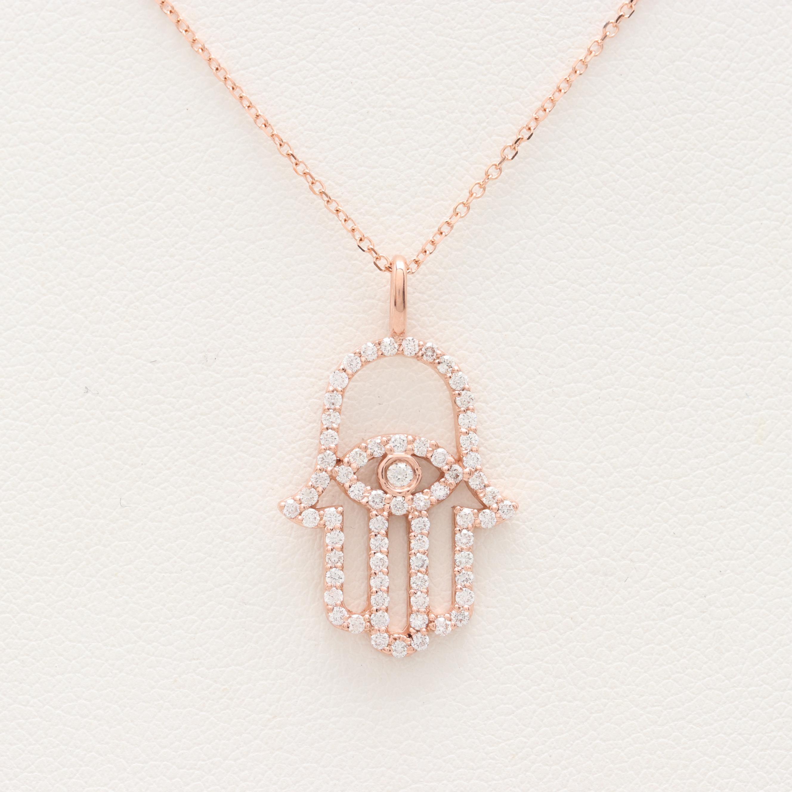 14K Rose Gold Diamond Hamsa Hand Necklace