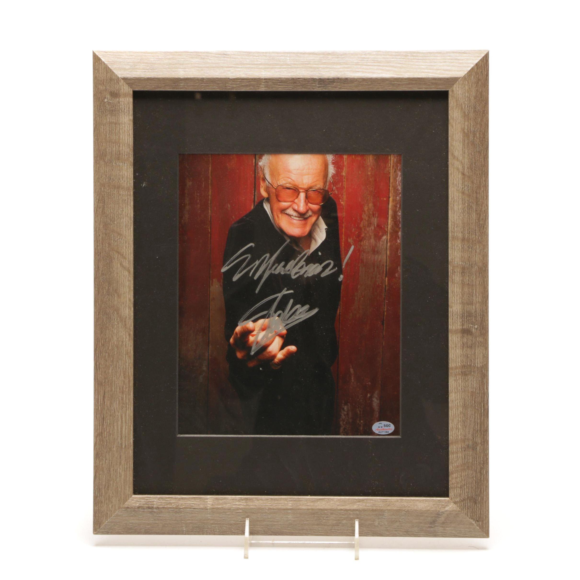 Stan Lee Signed Framed Photo Print COA