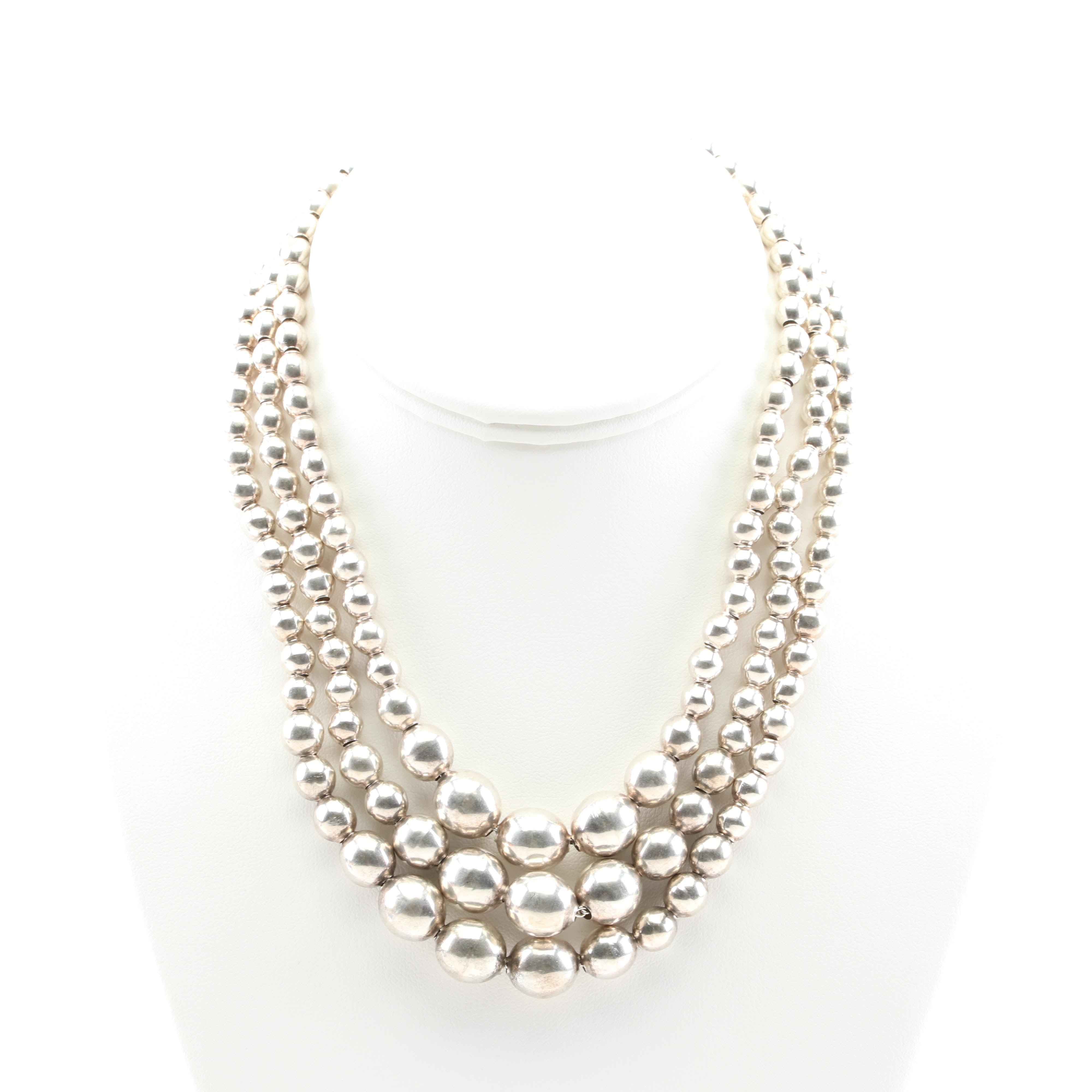 Sterling Silver Triple Strand Graduated Bead Necklace