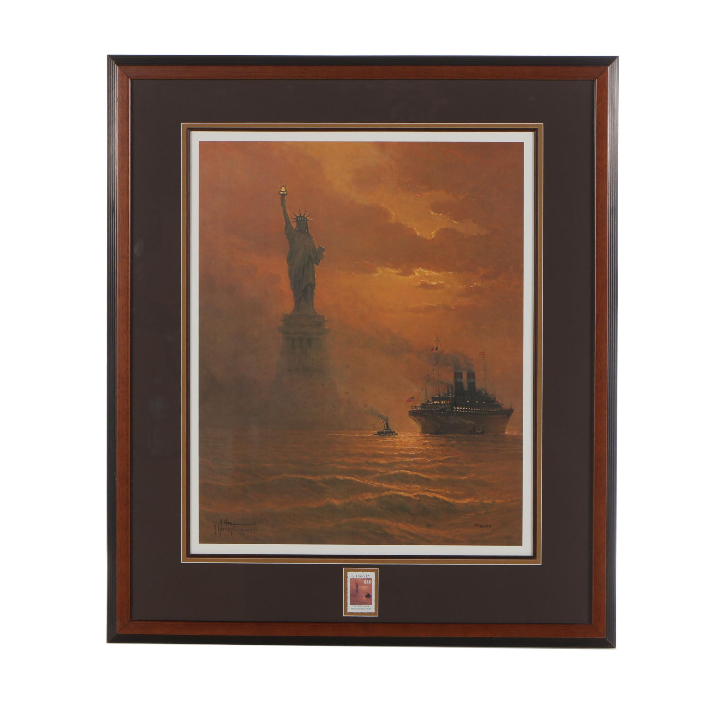 "Gerald Harvey Jones 1985 Offset Lithograph ""The Lamp Beside the Golden Door"""