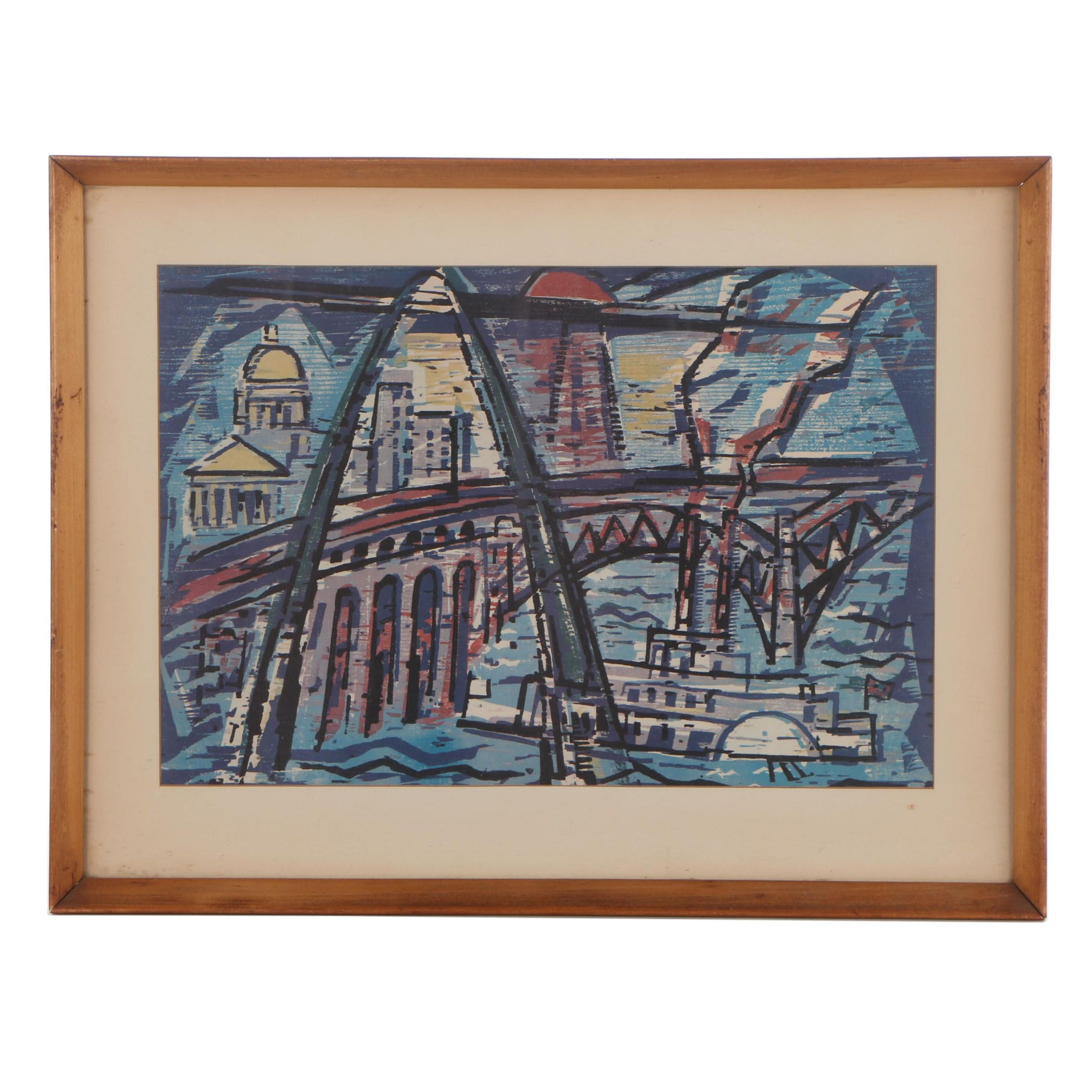 "Offset Lithograph After Werner Drewes ""St. Louis, Gateway to the West"""