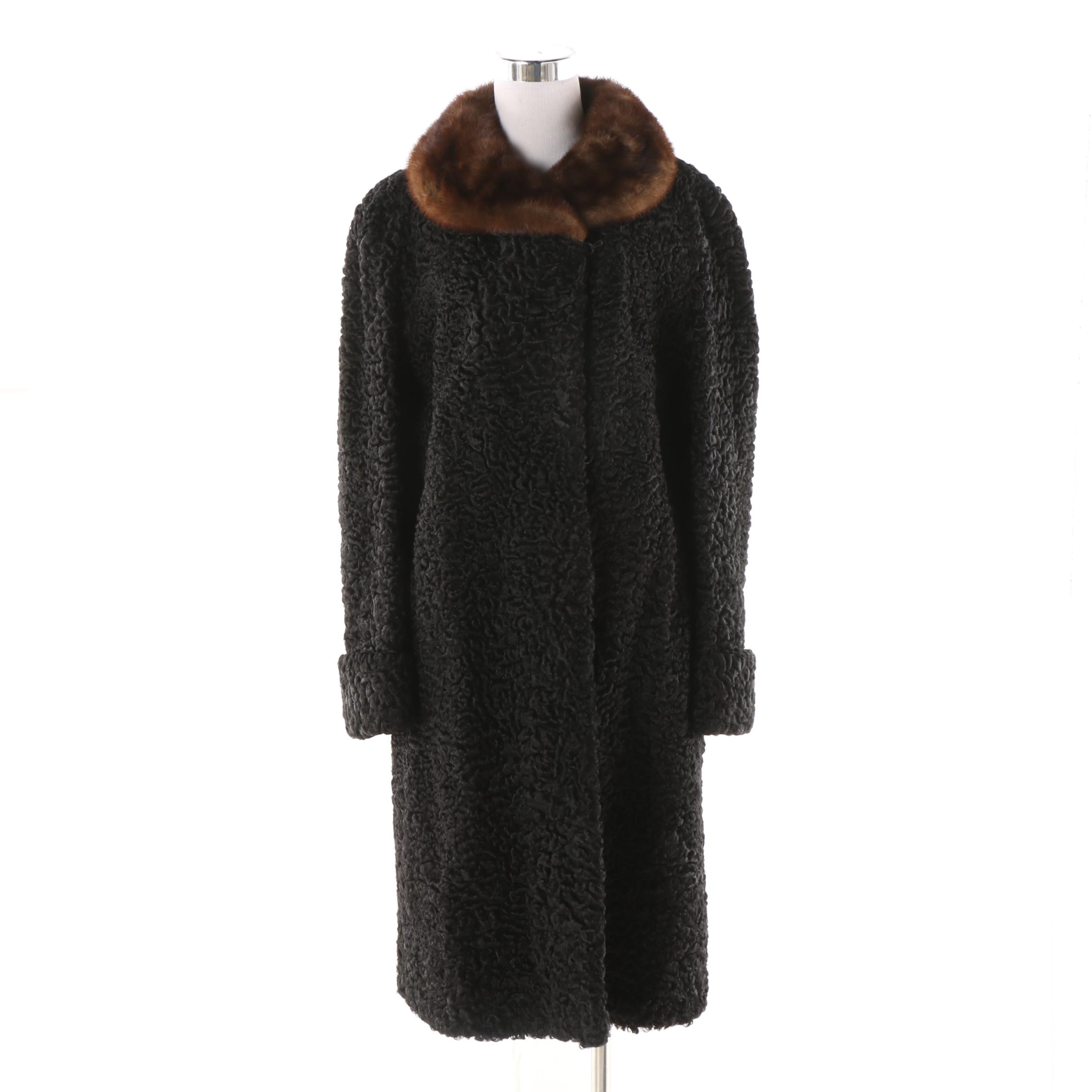 Women's Vintage Persian Lamb Fur Coat with Mink Fur Collar, Made in Canada