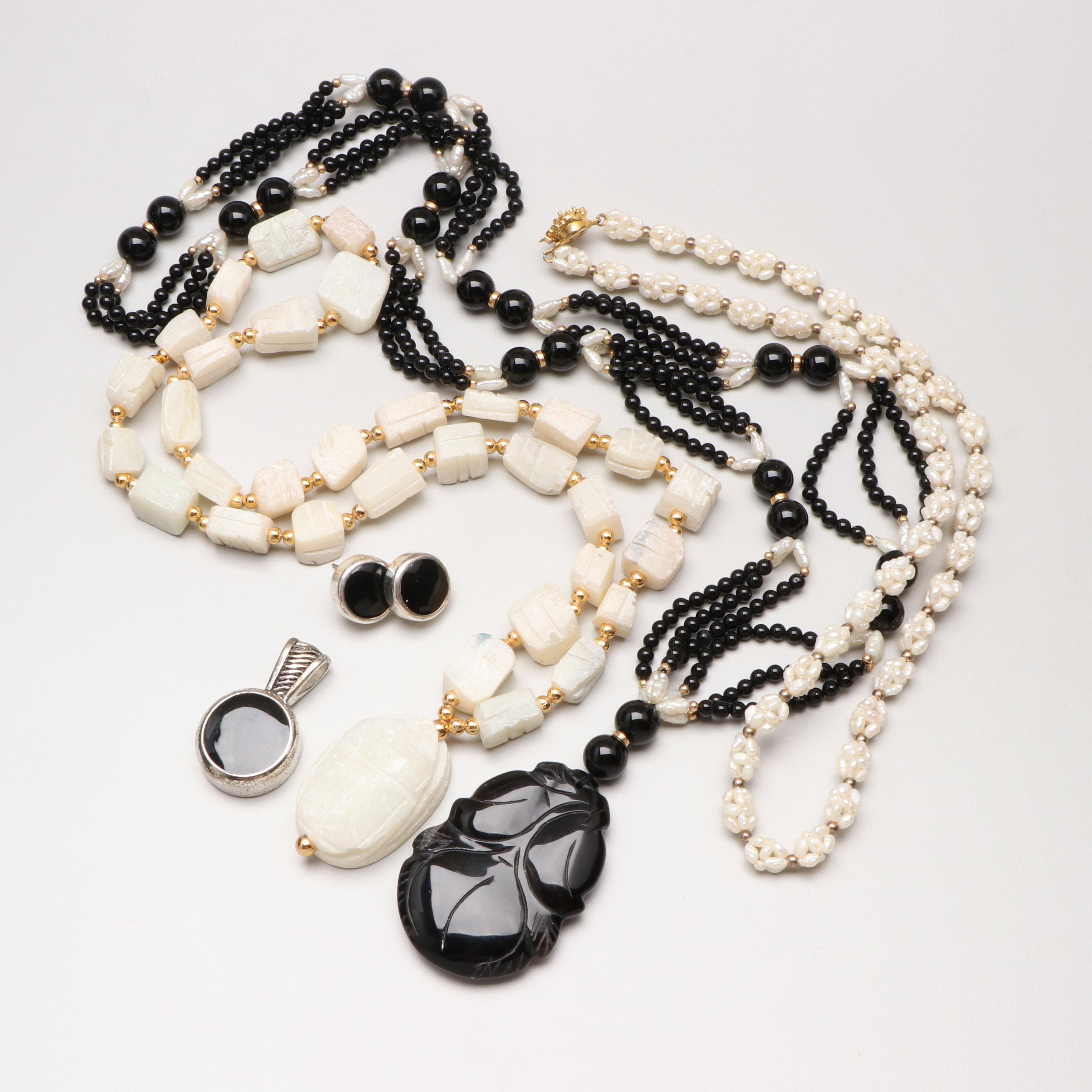 Assorted Costume Jewelry Including Talc, Onyx and Cultured Pearl