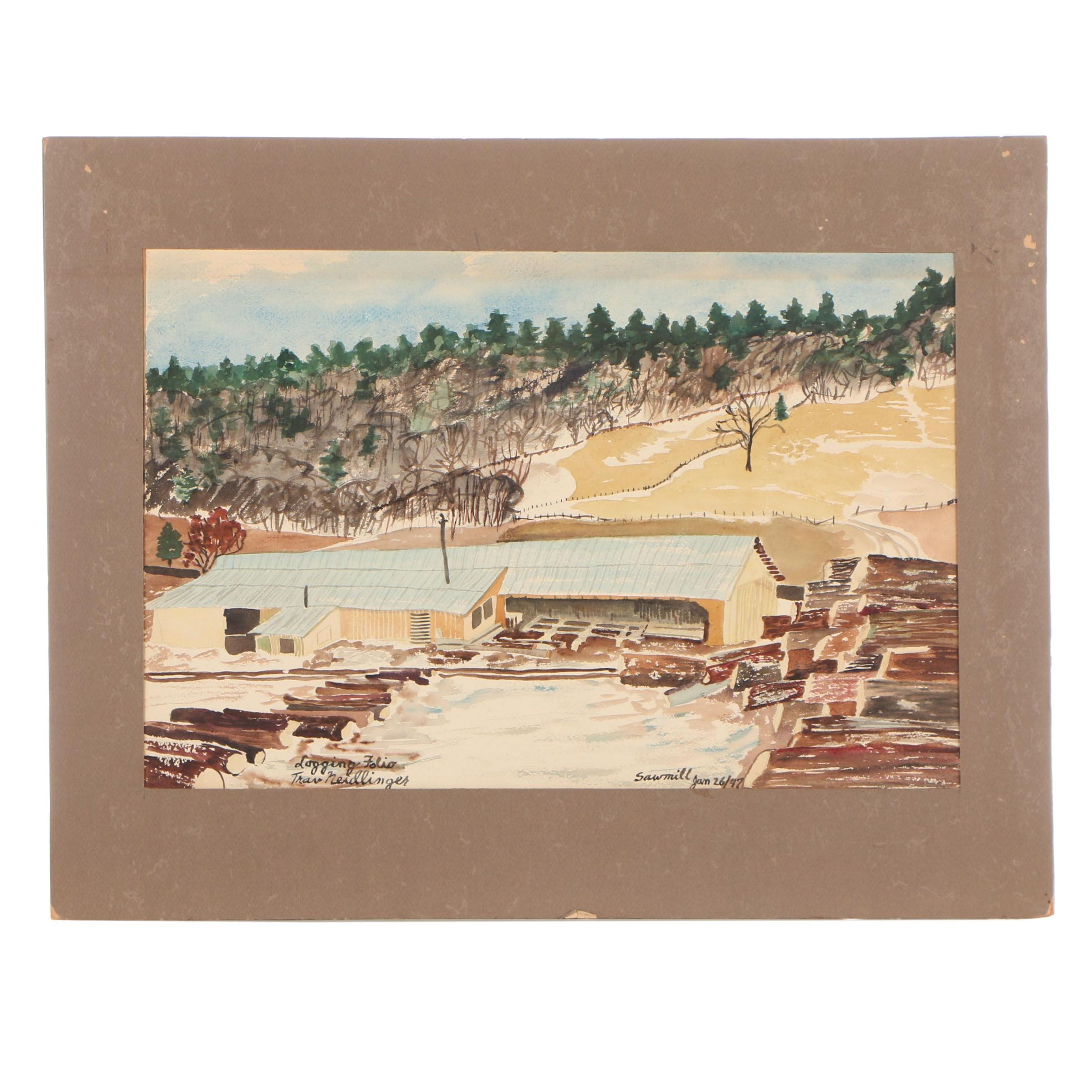 "Travis Neidlinger 1947 Gouache Painting ""View of the Sawmill, Logging Folio """